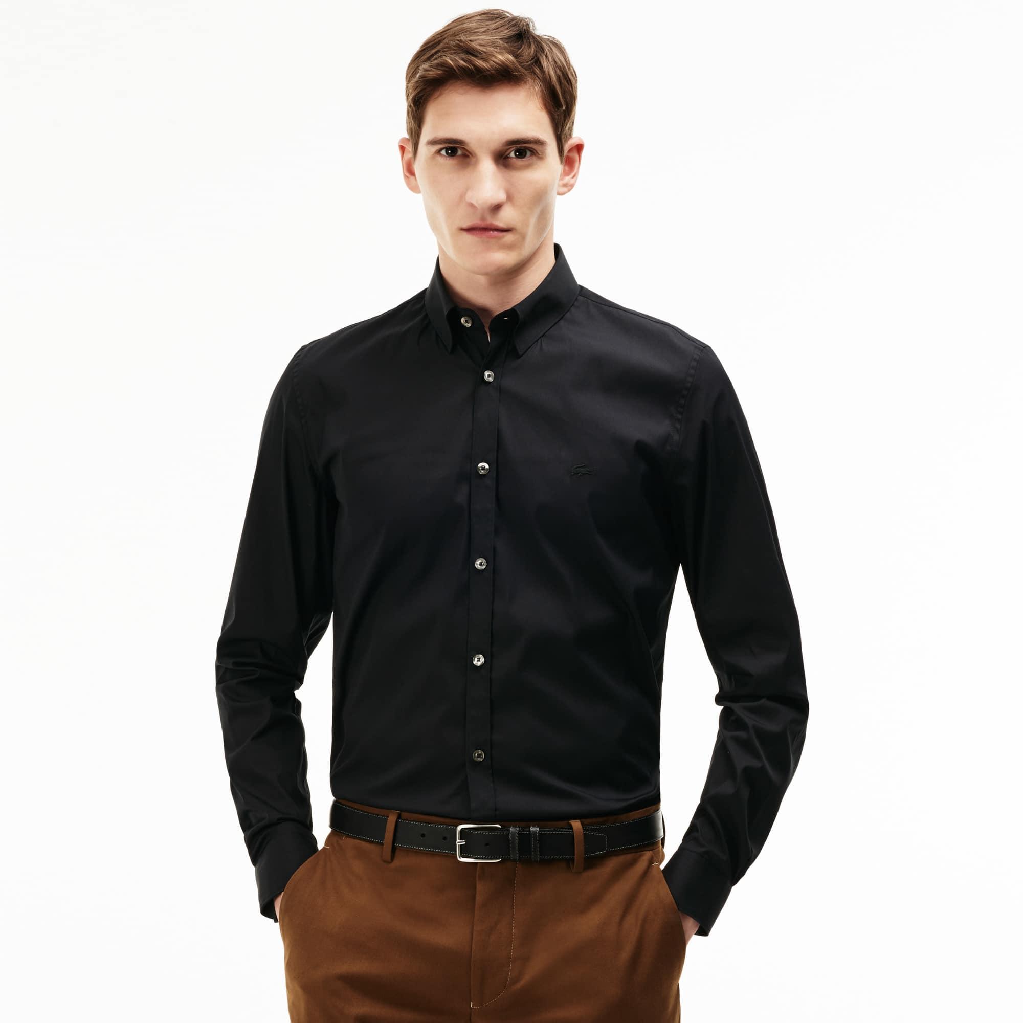 Camisa Slim Fit Masculina em Popeline de Algodão Stretch