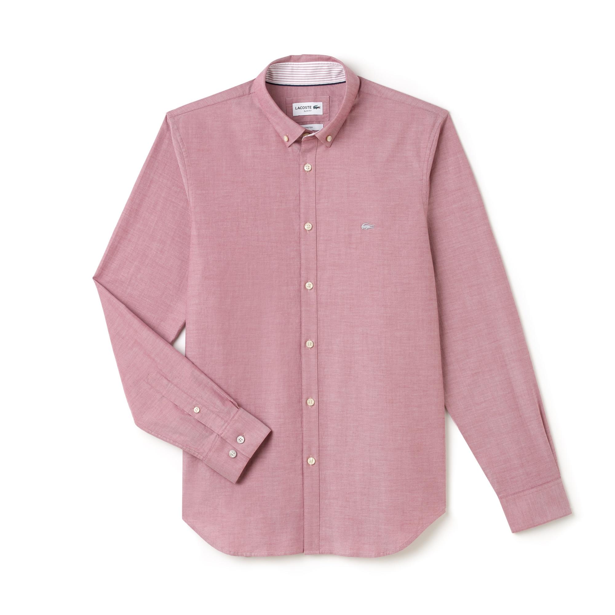 Camisa Slim Fit Masculina em Algodão Pinpoint Stretch