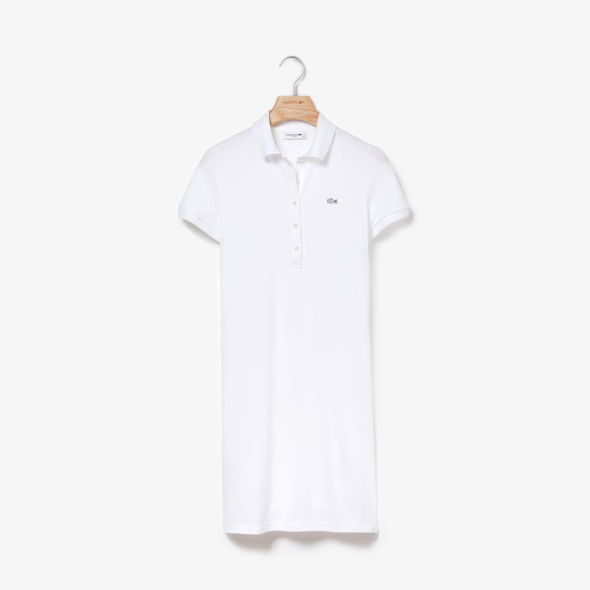 Vestido polo em mini piqué de algodão stretch unicolor
