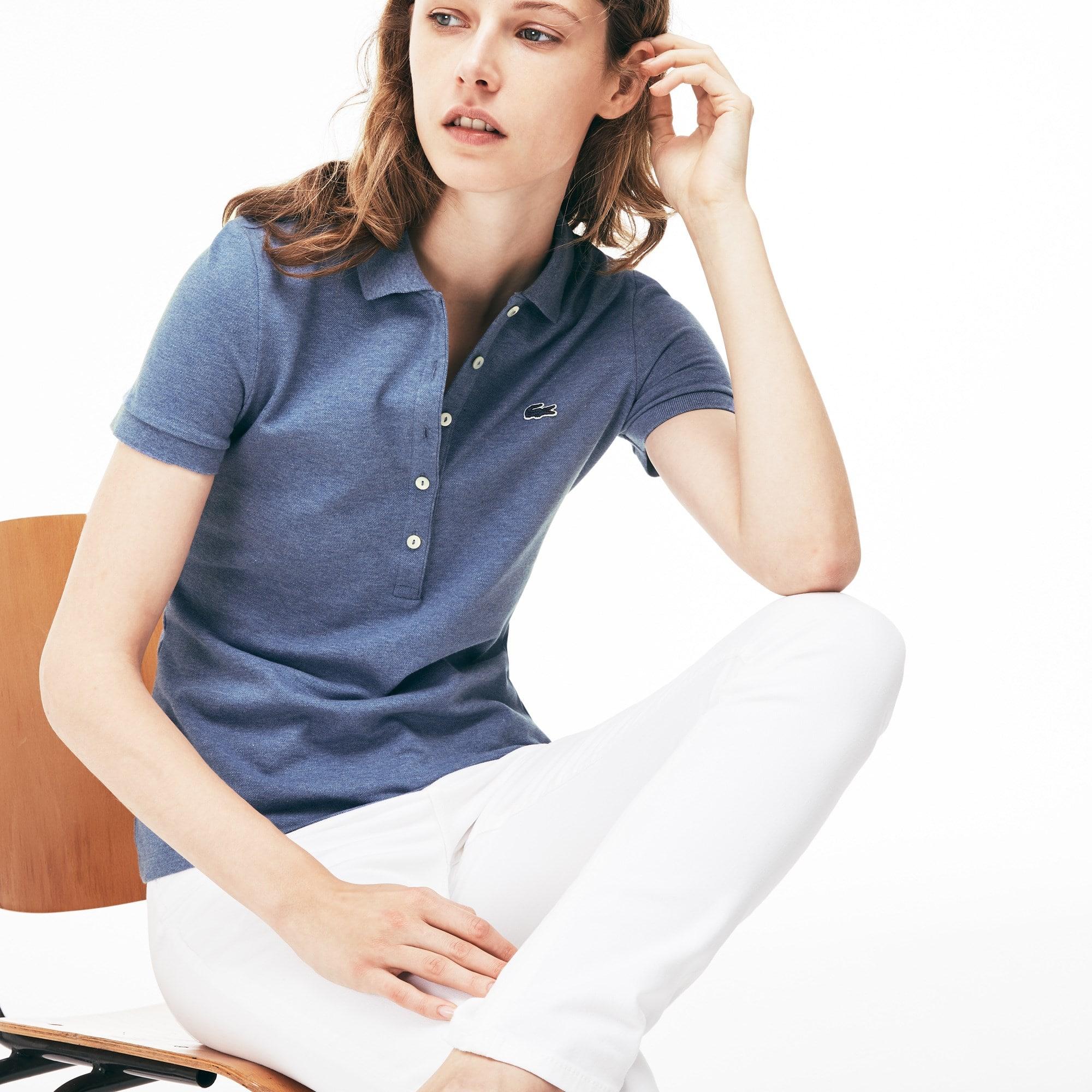 Polo slim fit Lacoste em mini piqué de algodão stretch unicolor