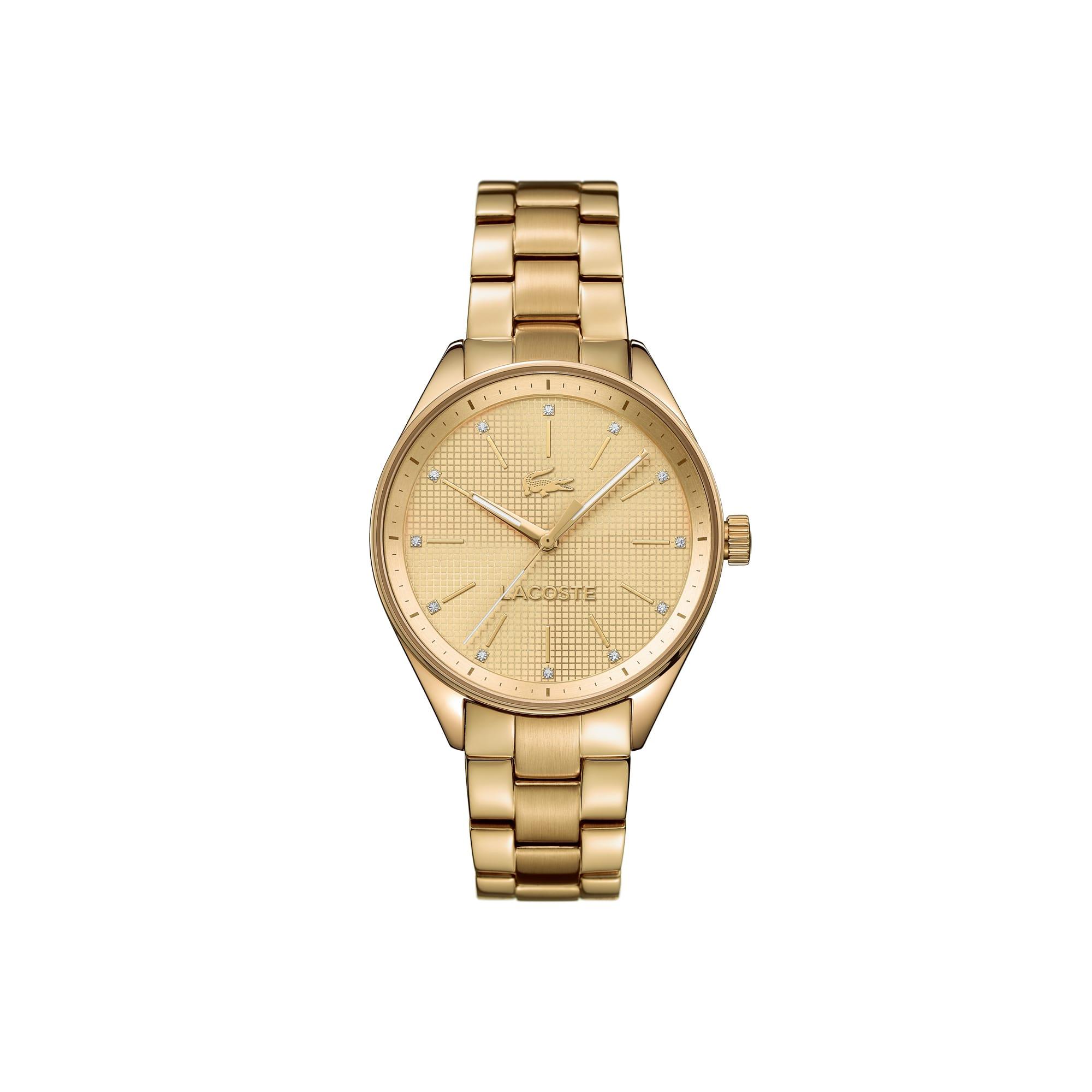 Relógio Philadelphia banhado em dourado com pulseira de metal e cristais Swarovski no mostrador