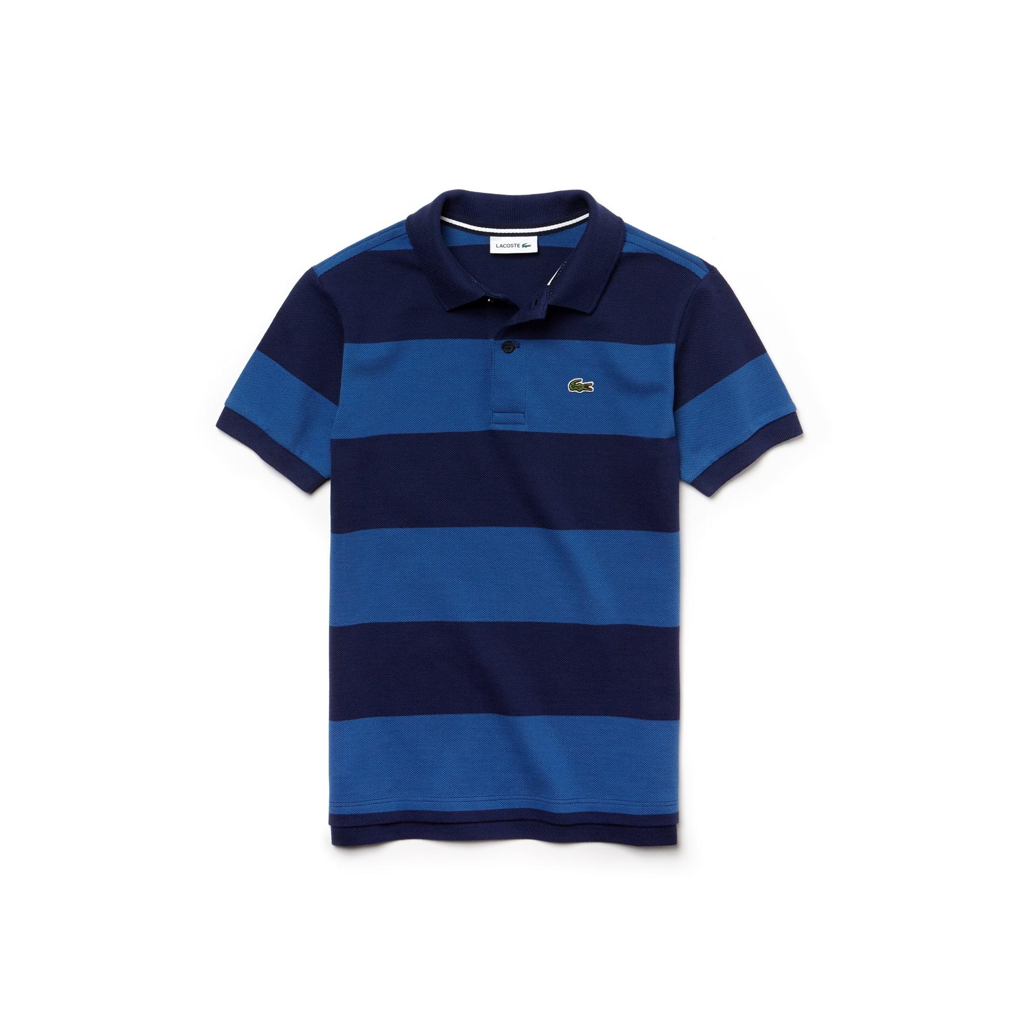 Camisa Polo Lacoste Masculina Infantil Listrada em Petit Piqué de Algodão