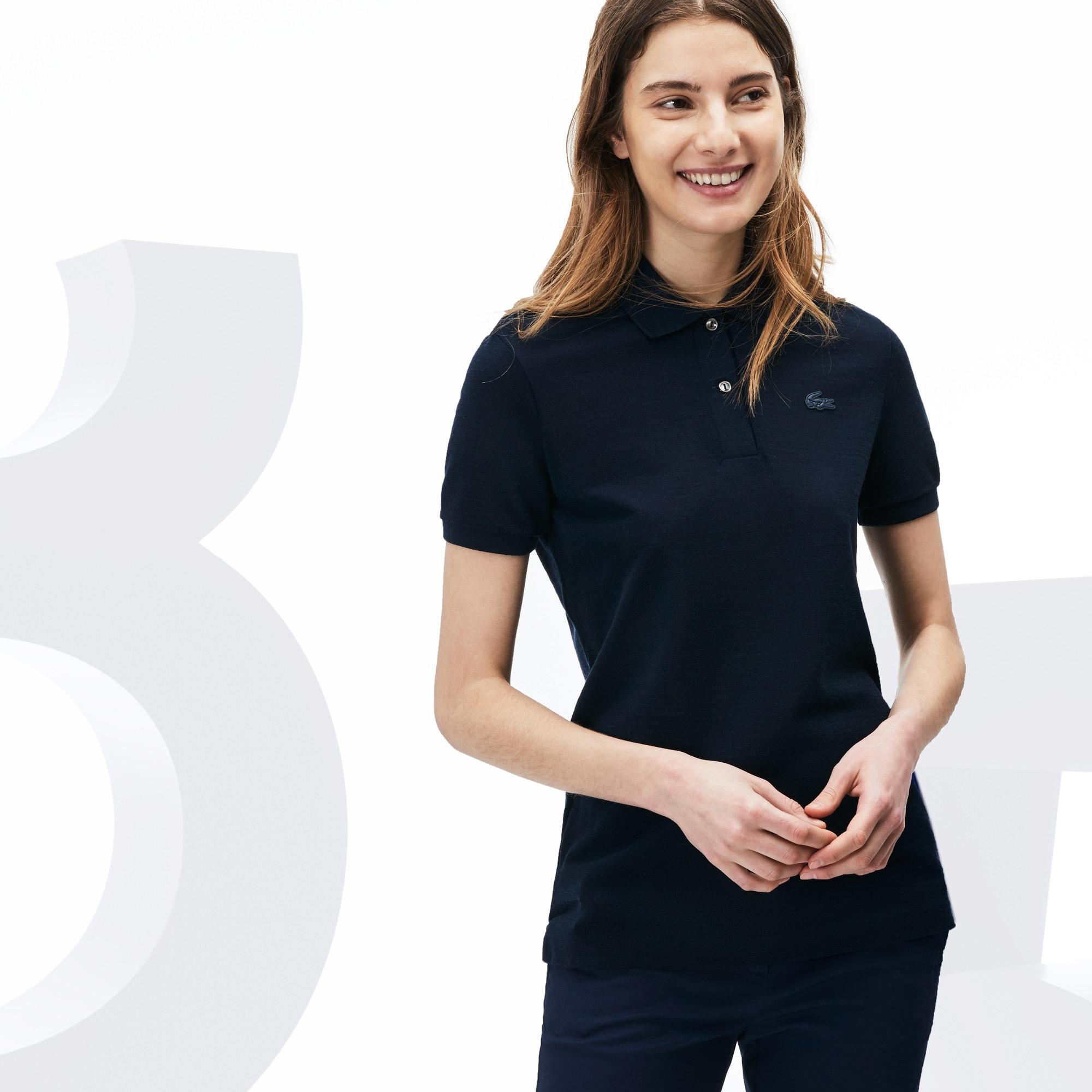 Camisa Polo Lacoste Feminina Classic Fit de Lã em Edição Limitada de Aniversário de 85 anos