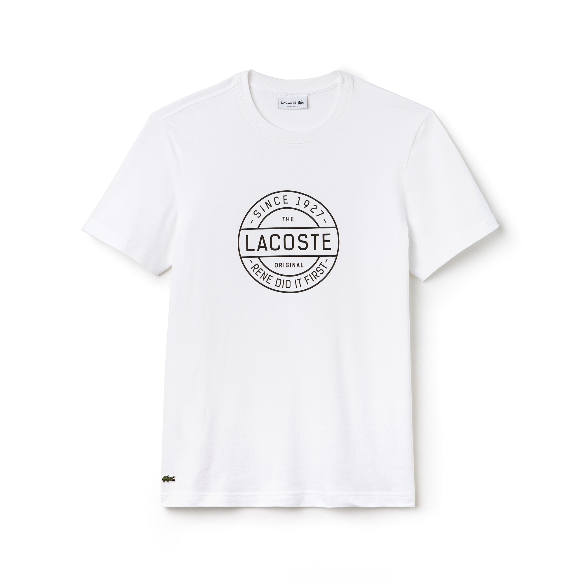 Camiseta Masculina em Jérsei de Algodão com Gola Redonda e Palavras Made in France