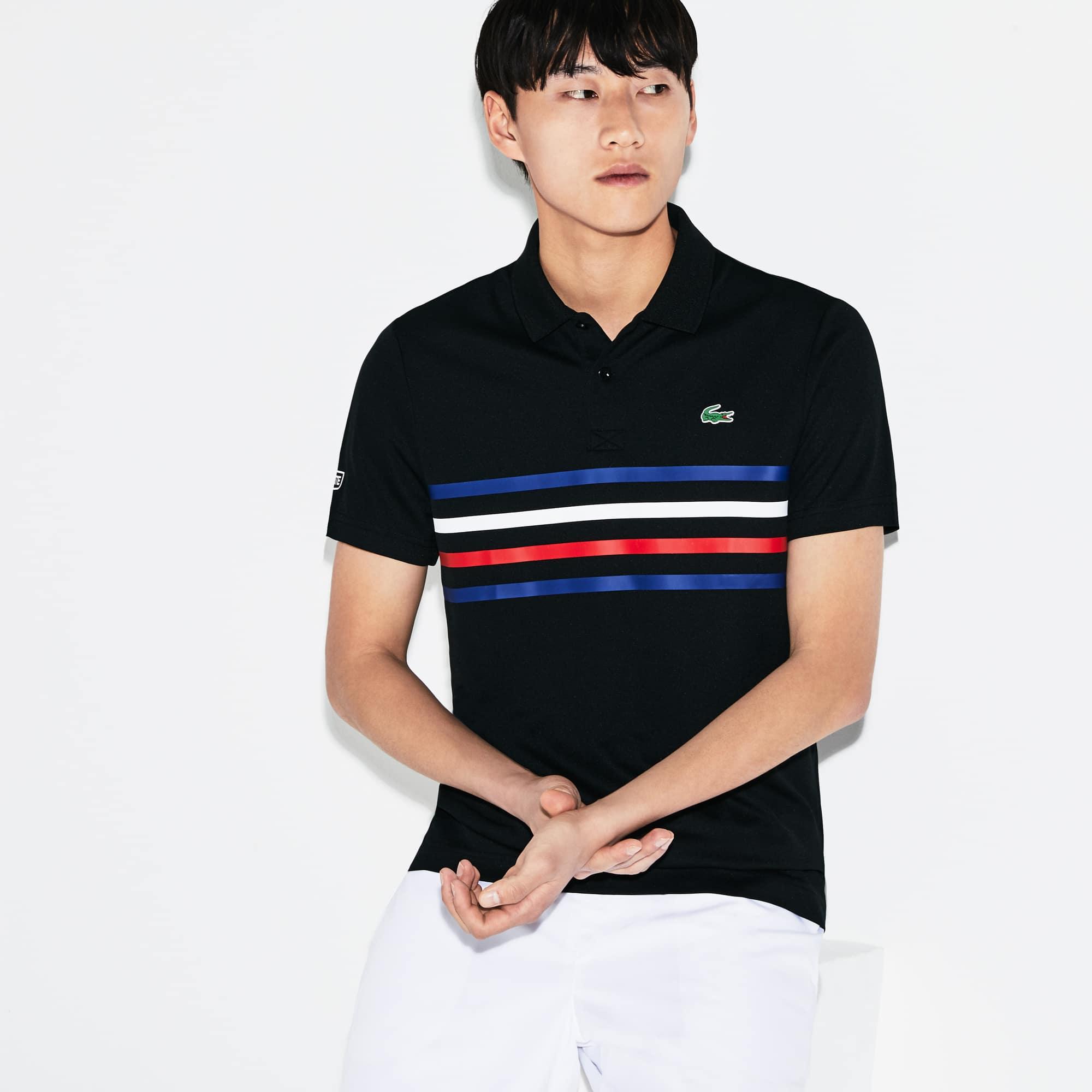 Camisa Polo Lacoste Sport Tennis Masculina em Piqué Técnico com Faixas Coloridas