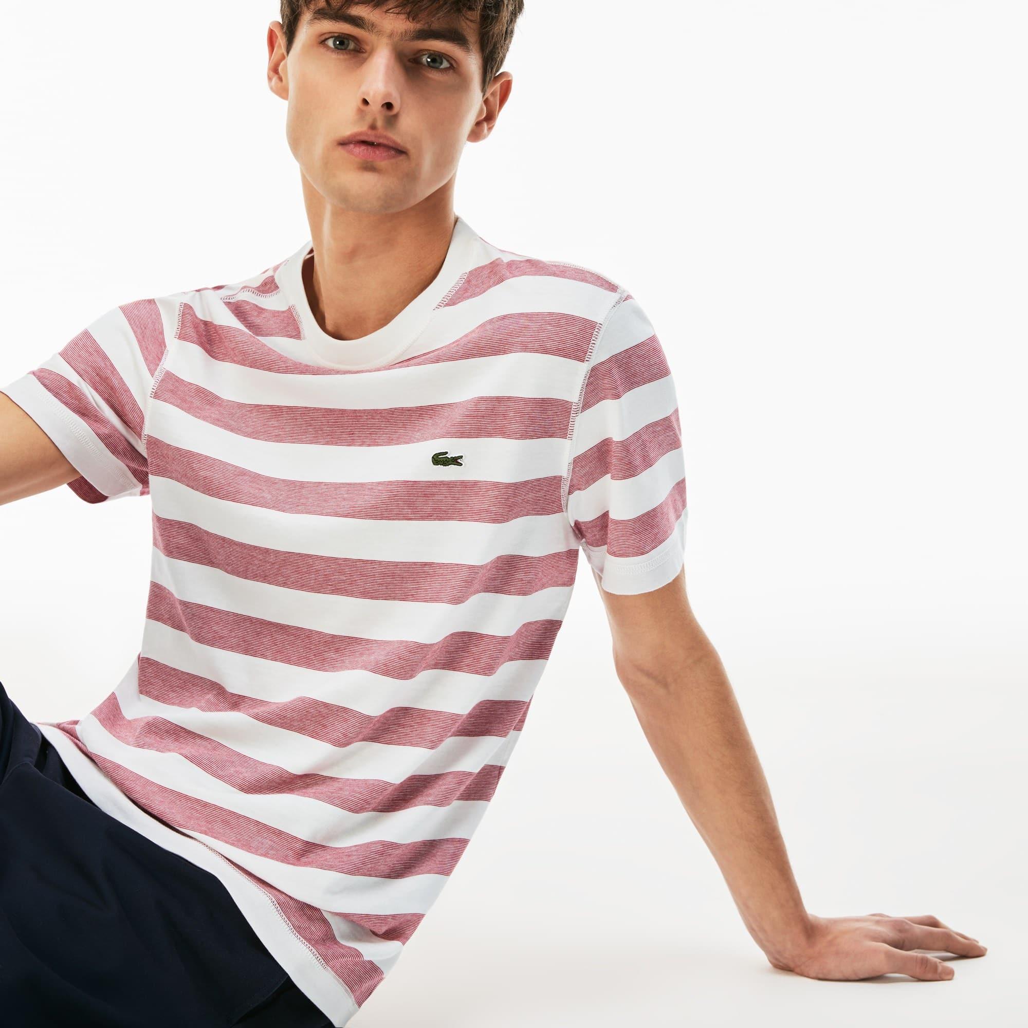 Camiseta Masculina em Jérsei de Algodão Listrado com Gola Redonda