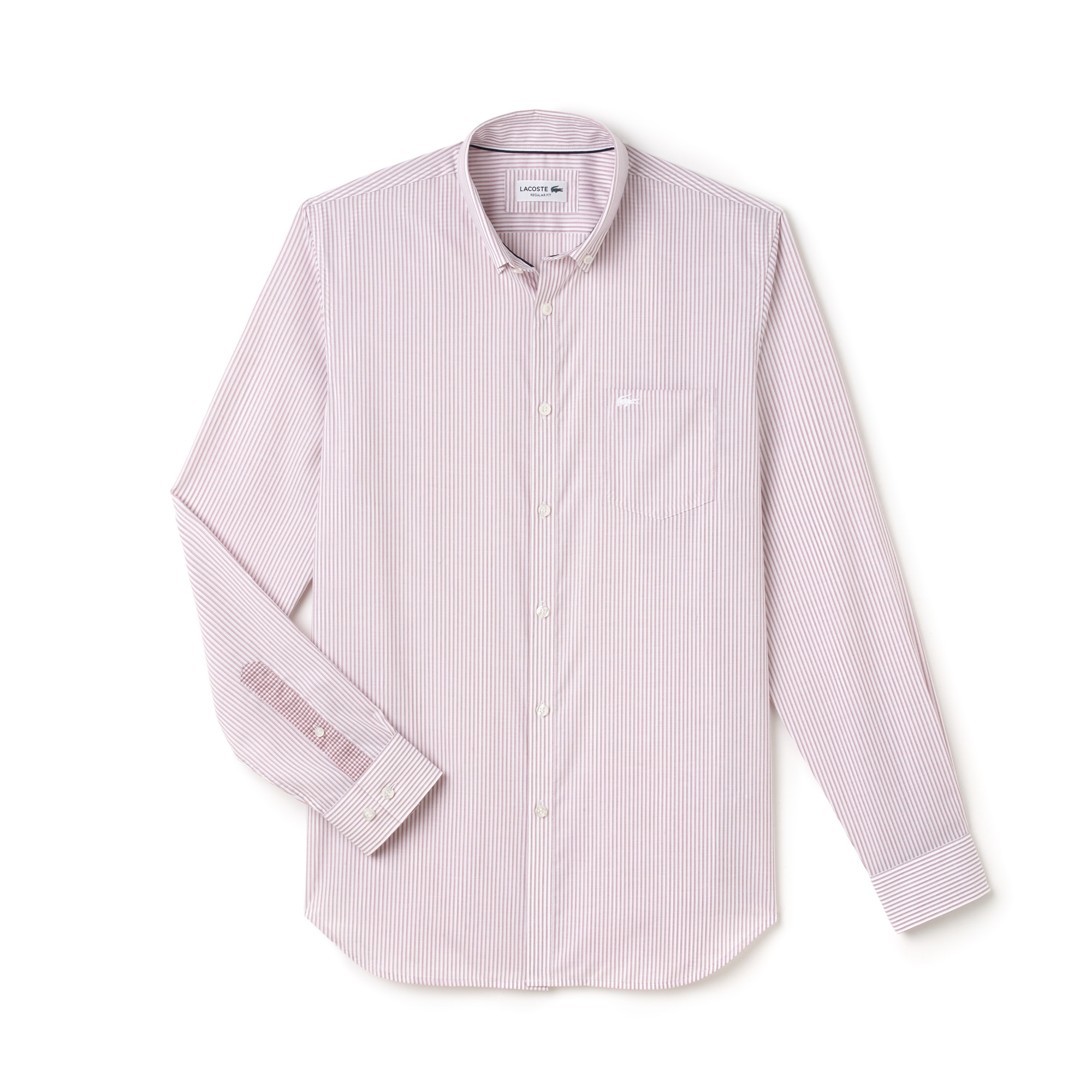 Camisa Regular Fit Masculina em Popeline Listrada