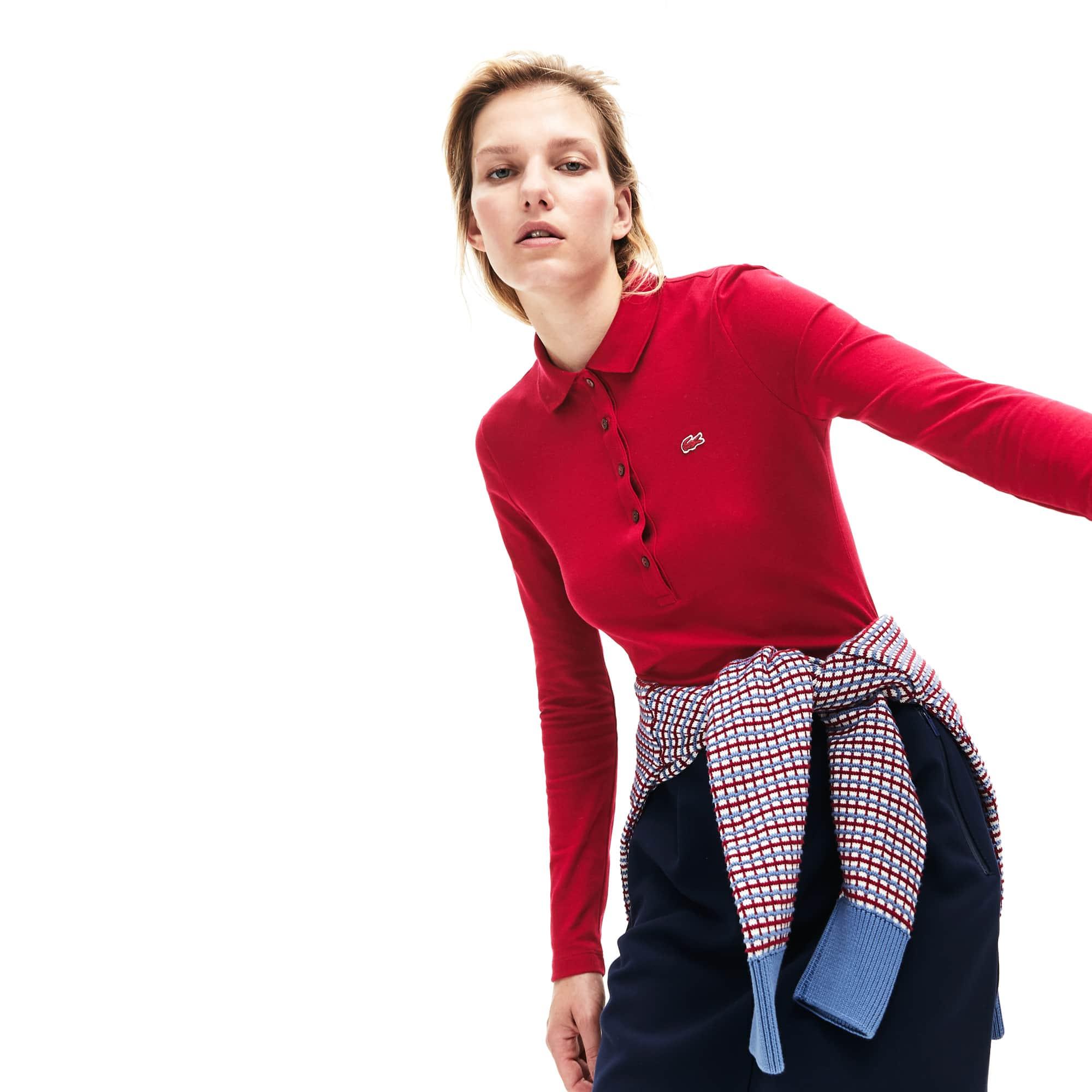Polo slim fit Lacoste de manga comprida em mini piqué stretch