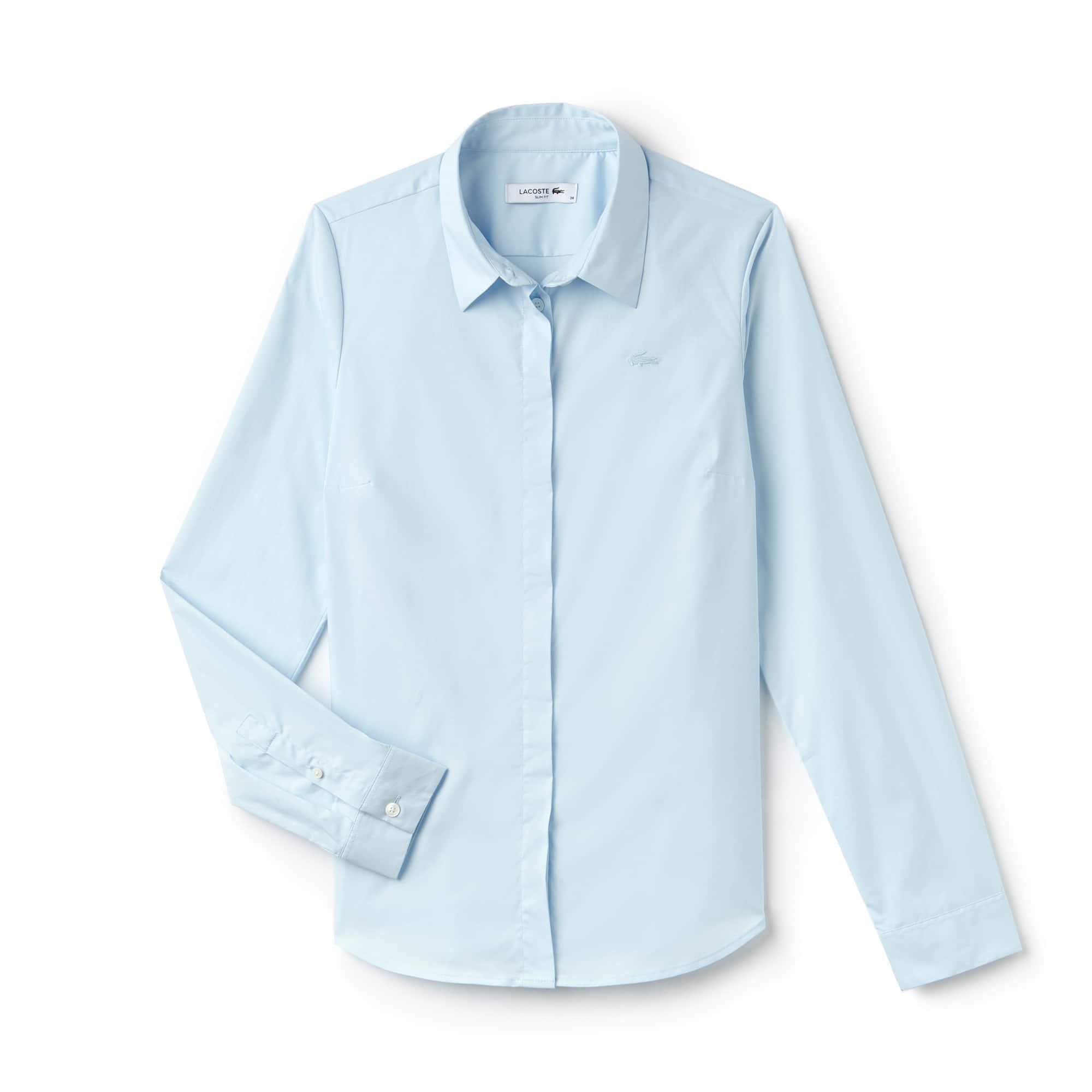 Camisa Slim Fit Feminina em Popeline de Algodão Stretch