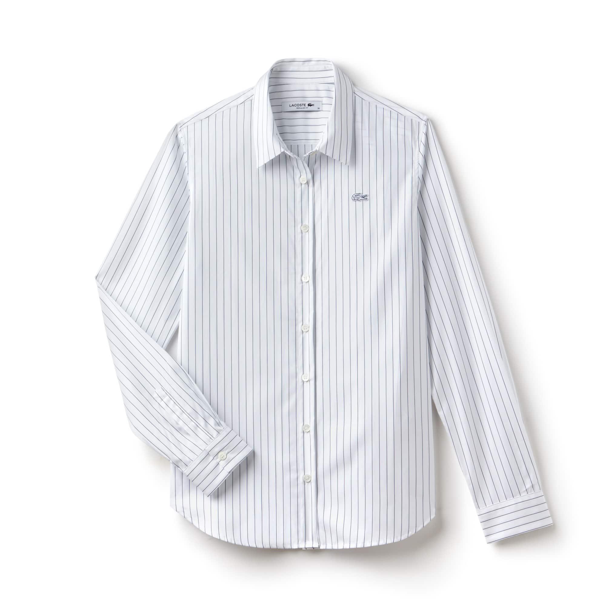Camisa Regular Fit Feminina Listrada em Popeline de Algodão
