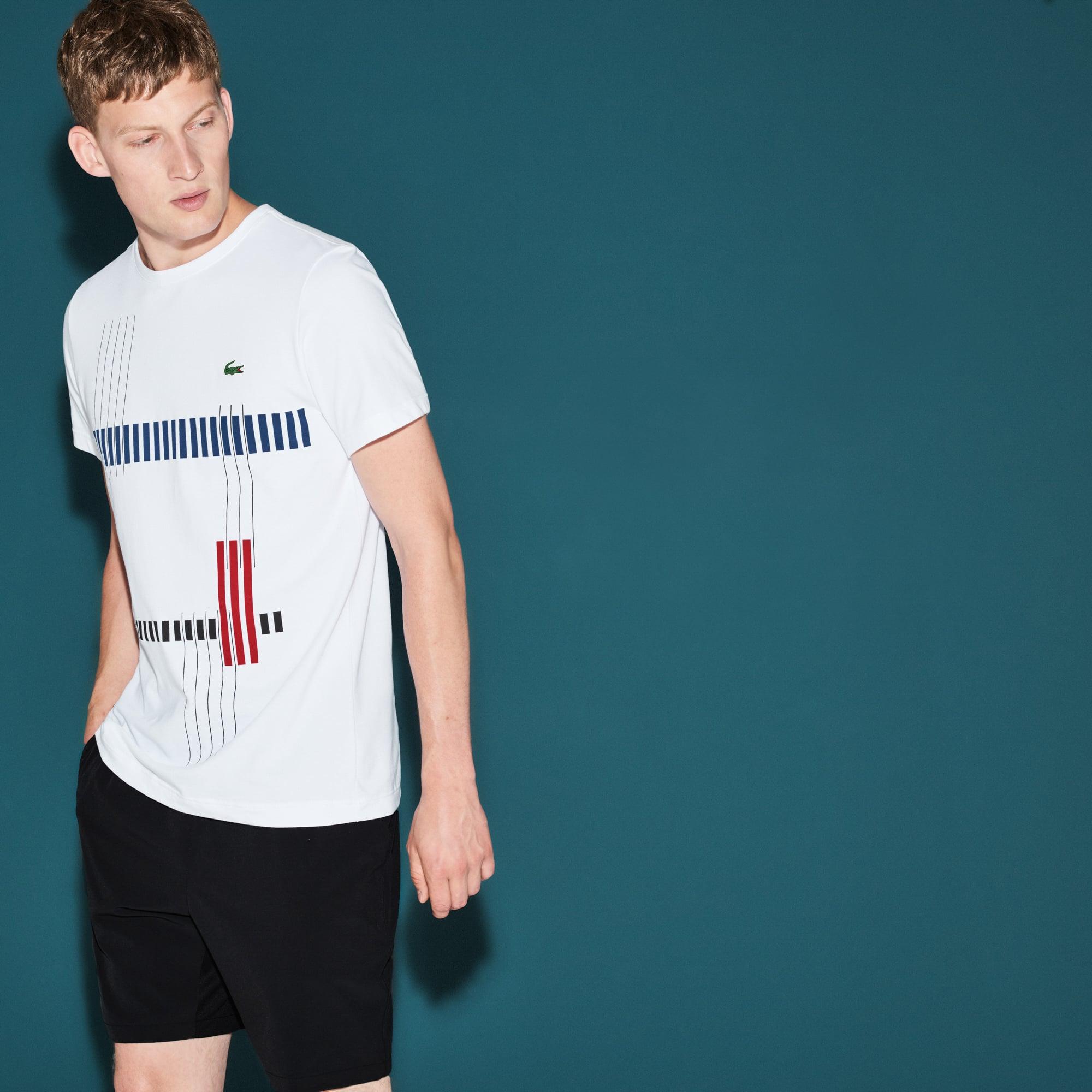 Camiseta Lacoste SPORT Tennis Masculina em Jérsei Técnico Listrado