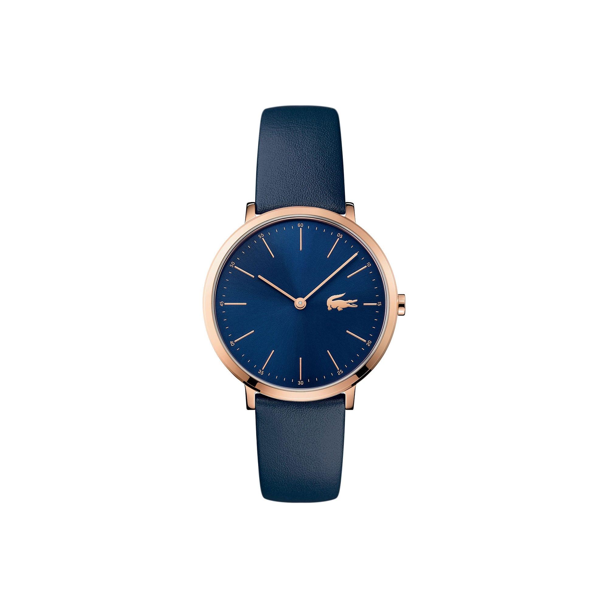 Relógio ultra slim Moon de mulher com bracelete de pele azul