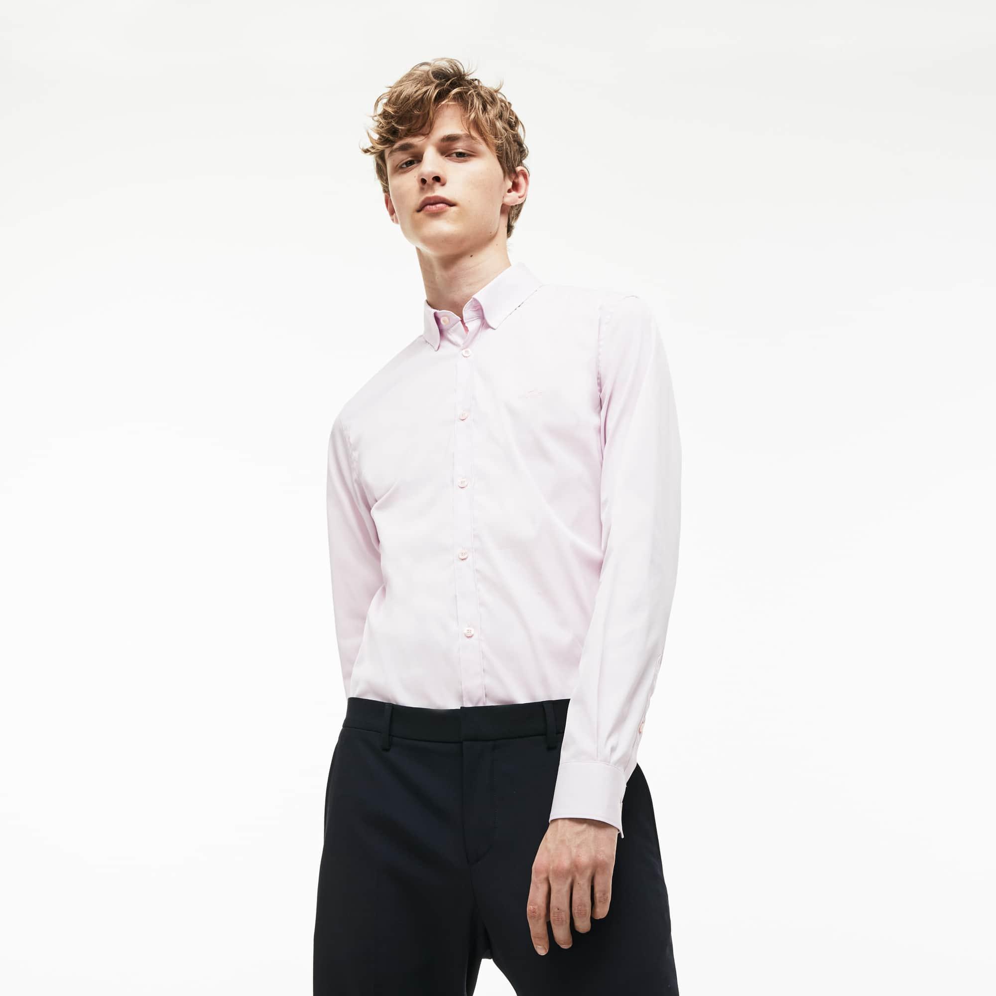Camisa Slim Fit Masculina em Popelina de Algodão Stretch ... 7a1d0e8256