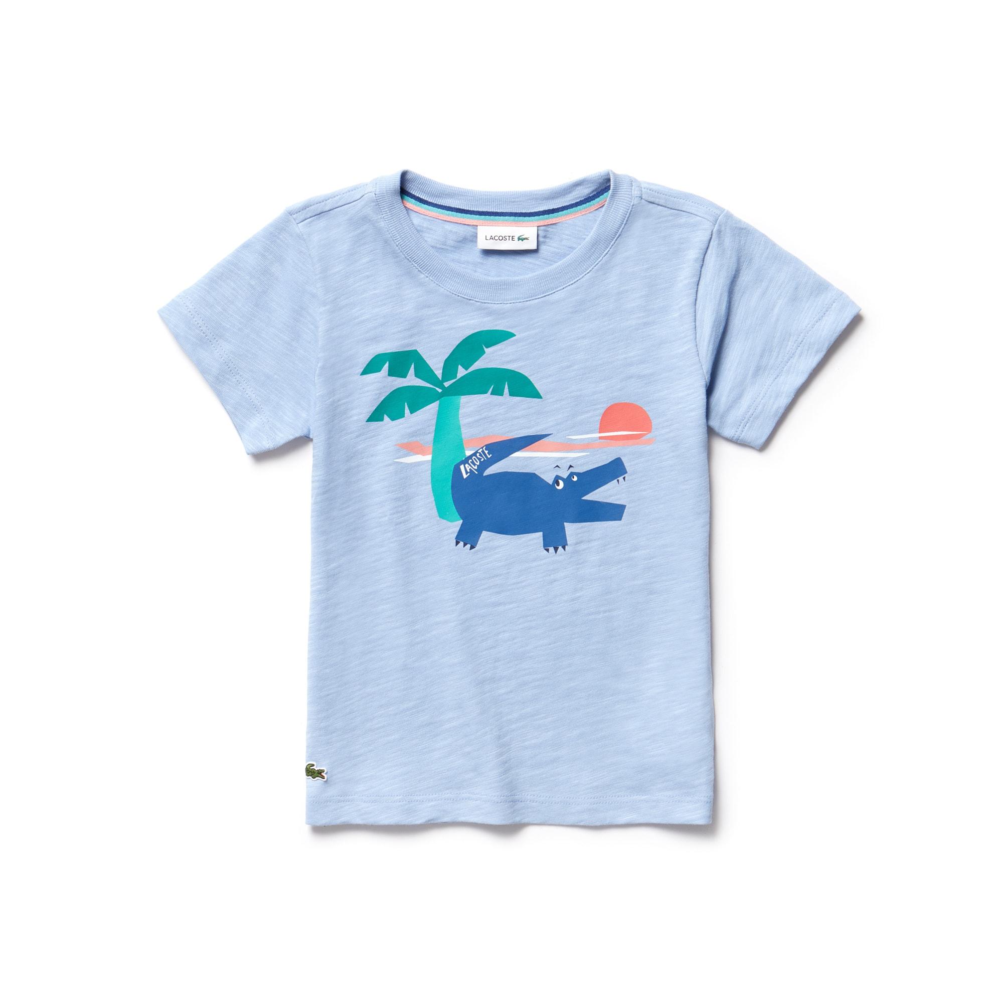 Camiseta Masculina Infantil em Jérsei Flamé com Gola Redonda e Estampa do Crocodilo