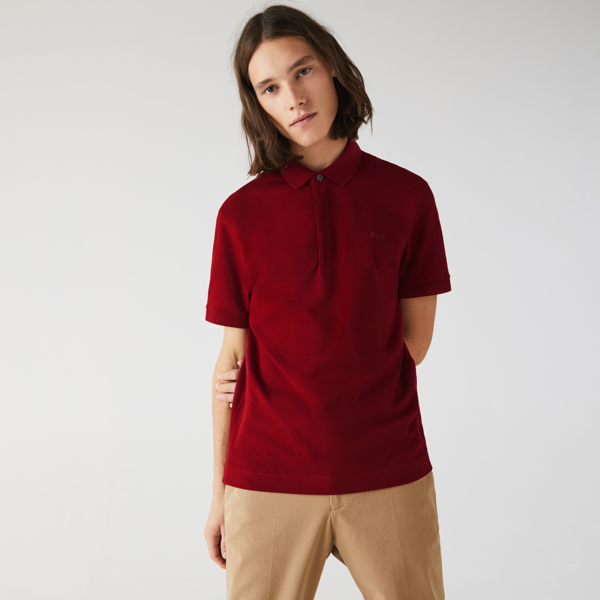 Camisa Polo Lacoste Paris Regular Fit Masculina em Piqué de Algodão Stretch