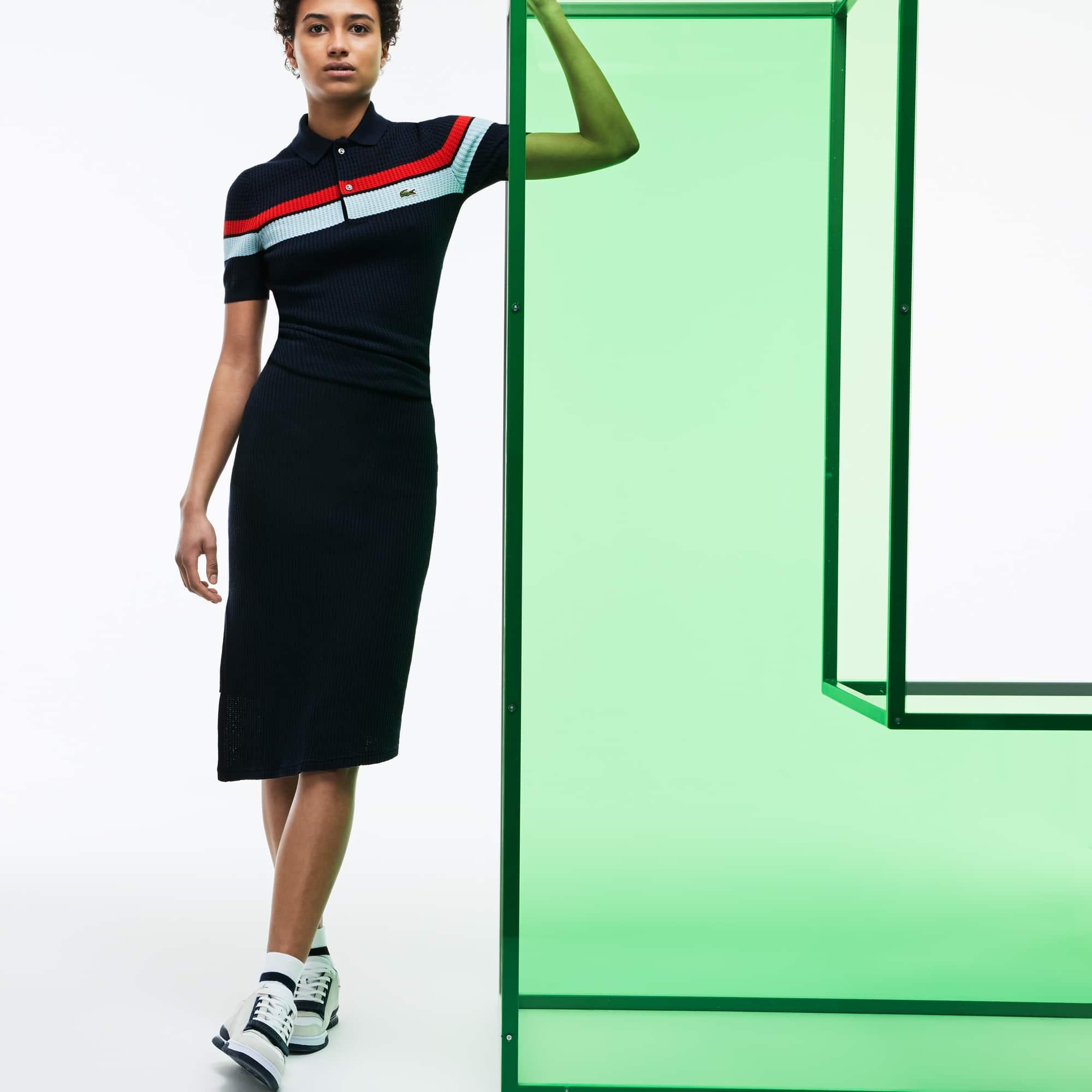 Vestido Polo Fashion Show em Malha de Algodão Torcido com Listras