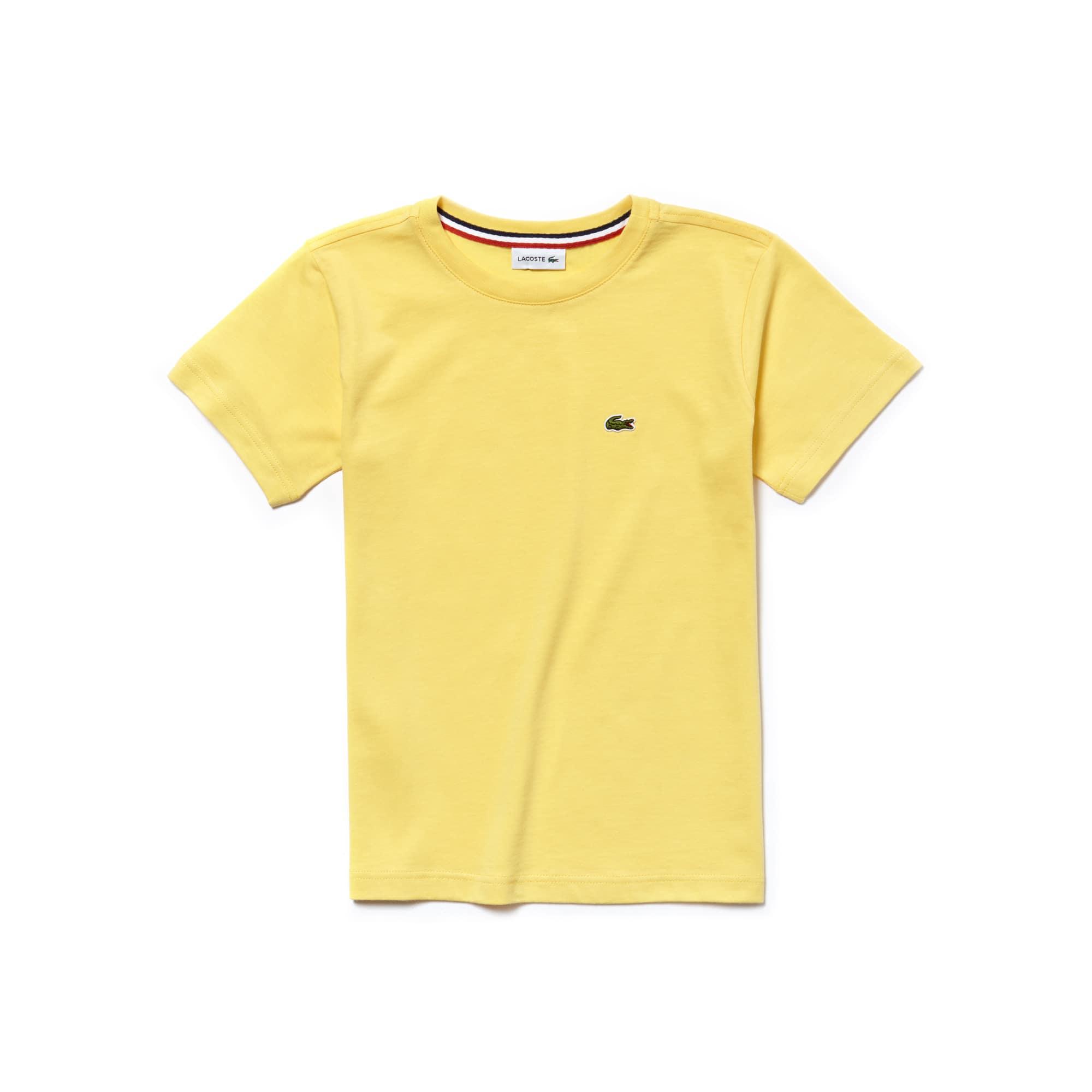 Camiseta Infantil Masculina em Jérsei de Algodão com Gola Redonda
