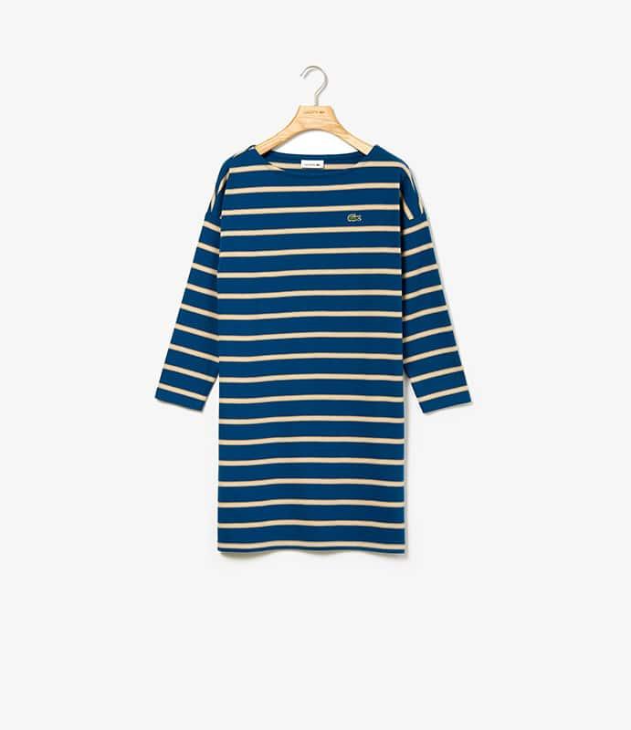 """Vestido canelado, em algodão, mangas compridas e decote """"á barco"""""""