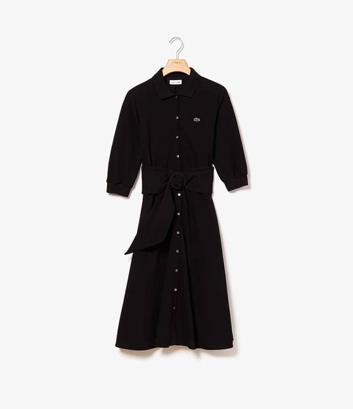 Vestido-polo em malha flexível petit piqué com cinto removível