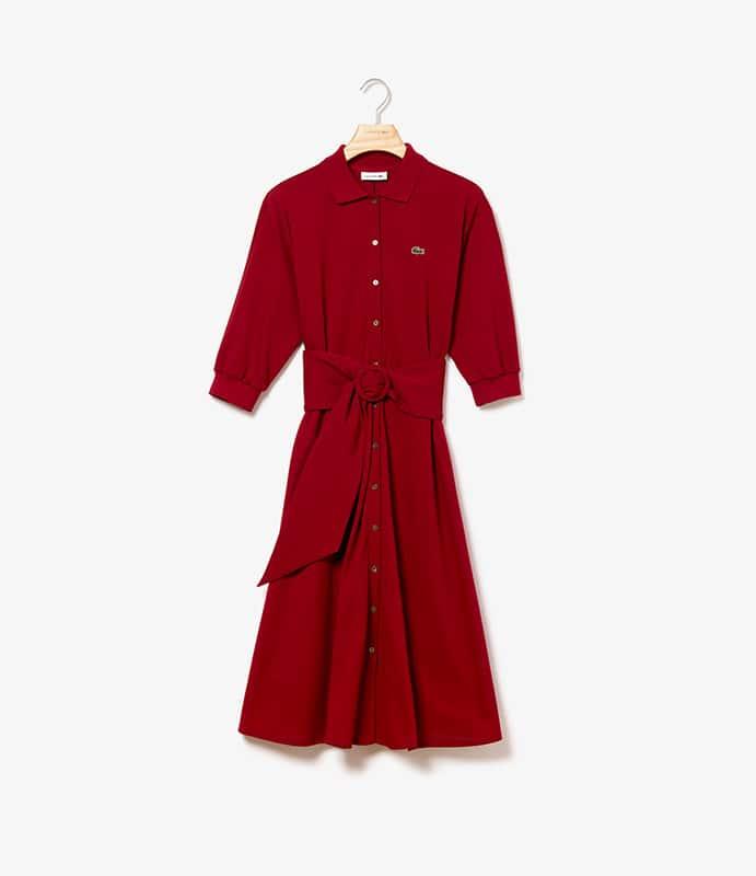 Vestido-polo em malha petit piquet flexível, com cinto removível