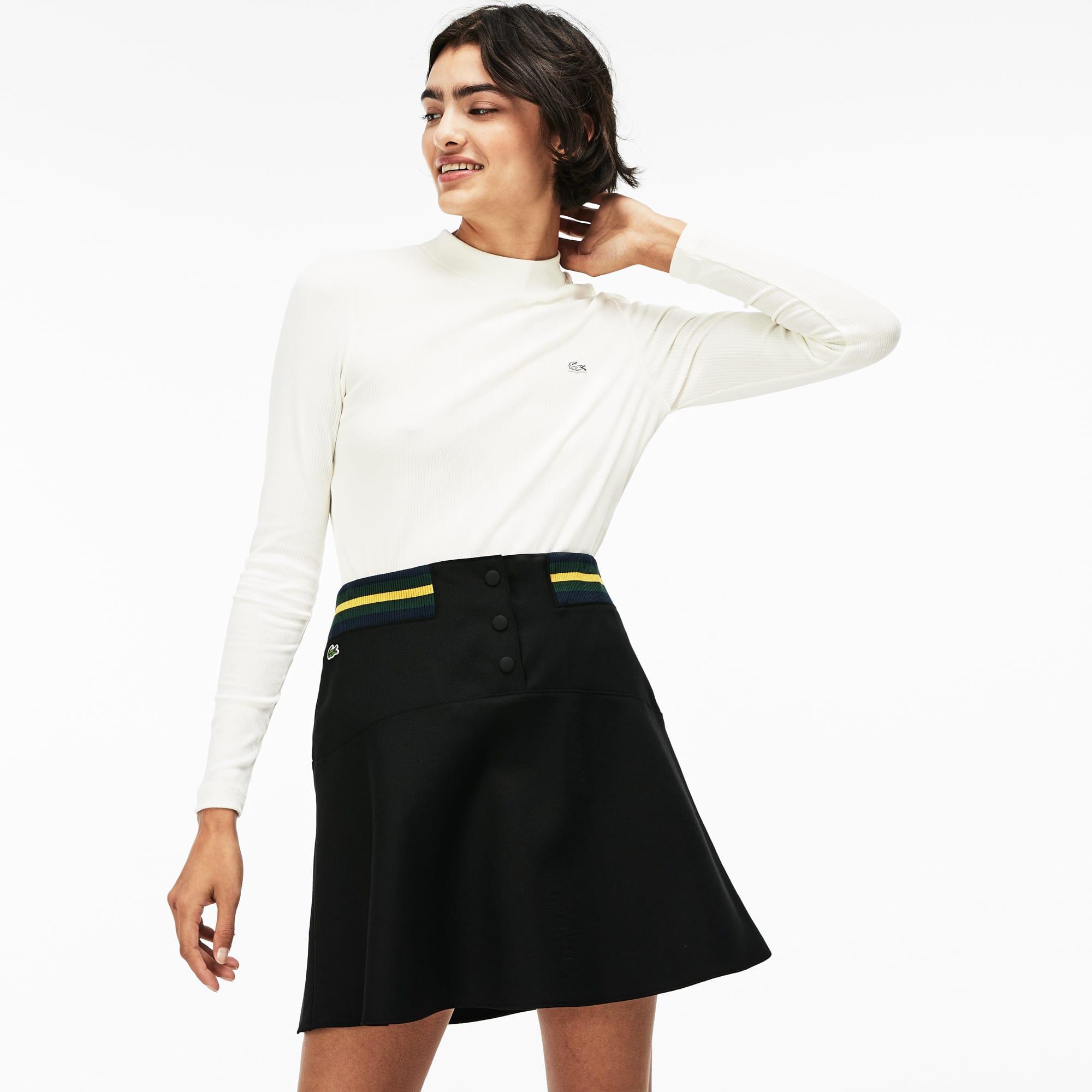 16f115166a734 Saia feminina Lacoste LIVE skater com elástico contrastante na cintura