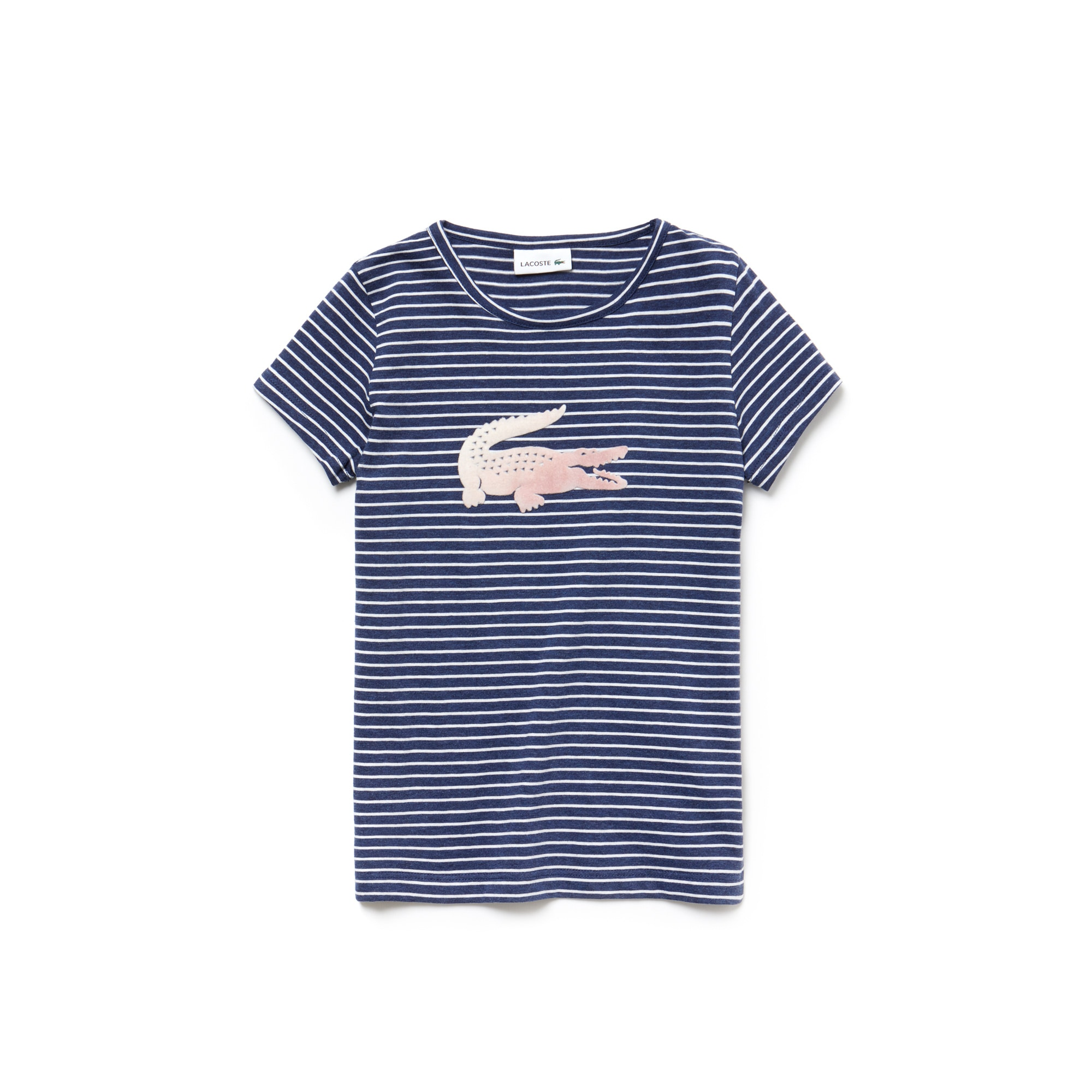 825beb51706 Camiseta infantil listrada de gola redonda com crocodilo Oversized em jérsei