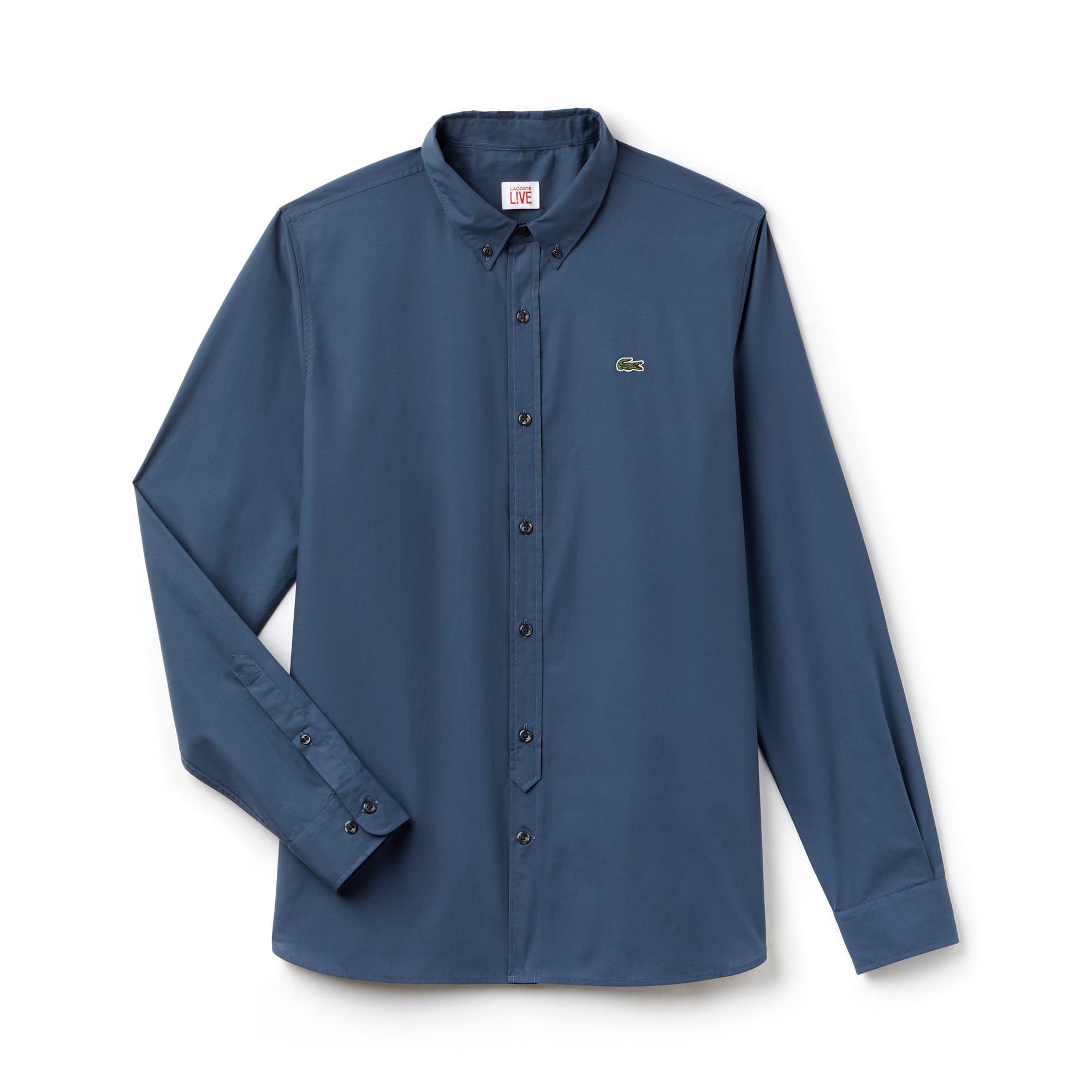 Camisa Lacoste LIVE Skinny Fit Masculina em Popeline de Algodão 11f81bb9d4