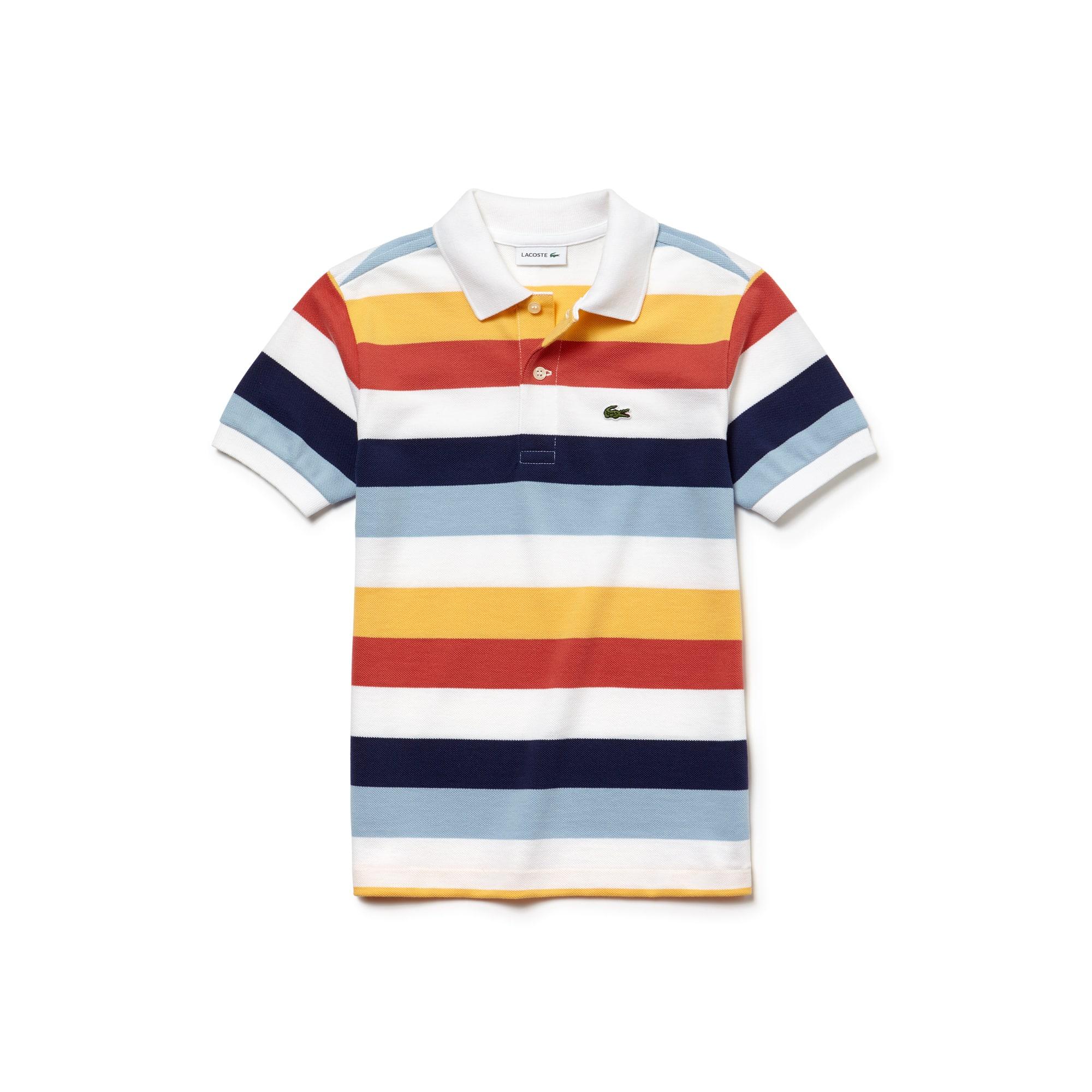 Camisa Polo Lacoste Masculina Infantil Em Pique Com Listras