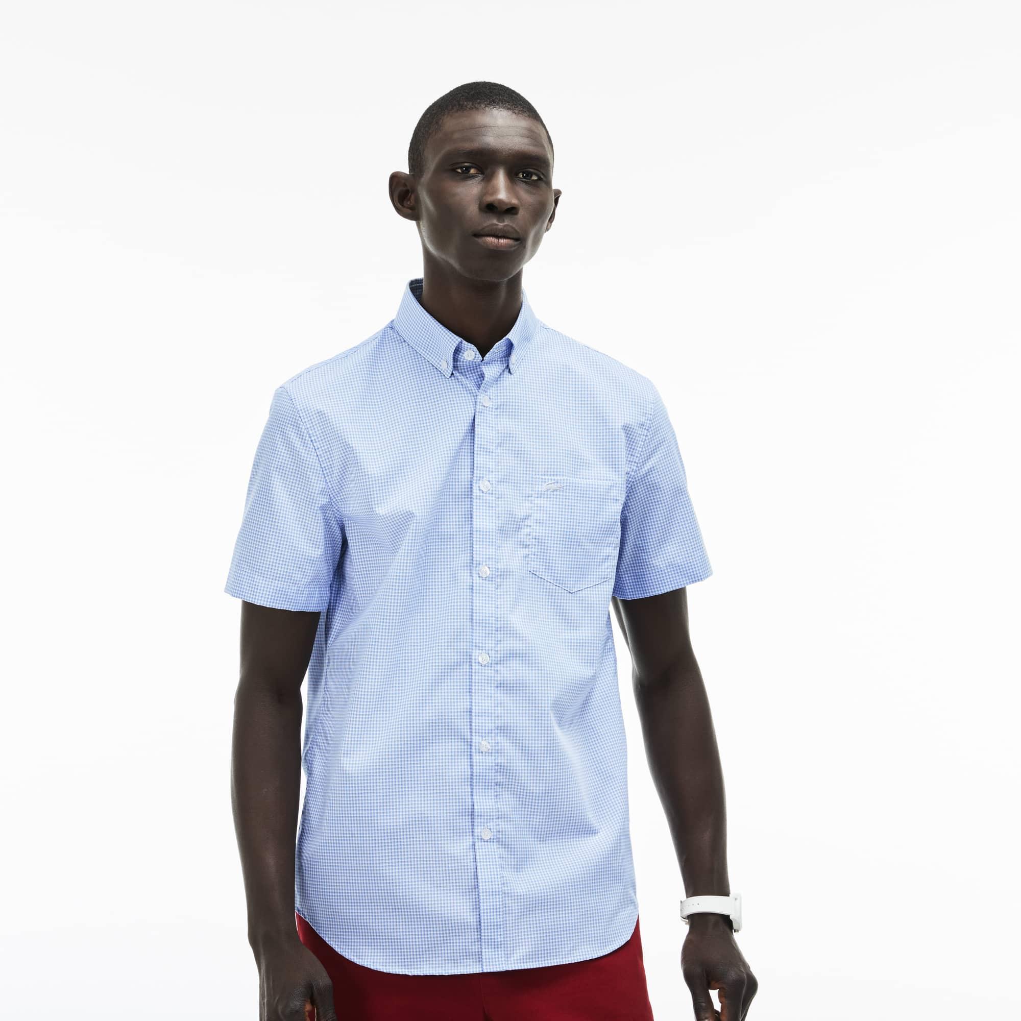 44f1344d2d Camisa Regular Fit Masculina em Popeline de Algodão Minixadrez