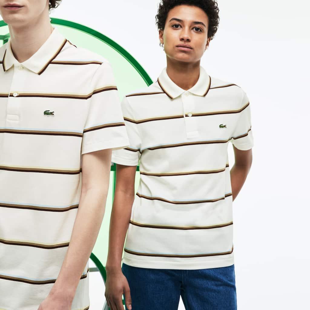 54bfc2183c19d Camisa Polo Lacoste Fashion Show Unissex em Piqué de Algodão com Listras  Coloridas