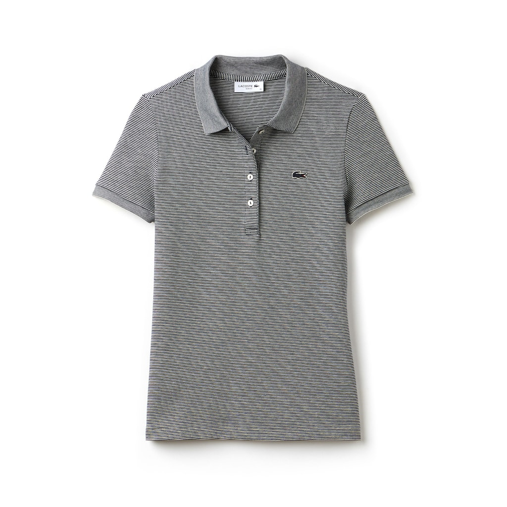 111556d8ff2a4 Camisa Polo Lacoste Slim Fit Feminina em Minipiqué Stretch com Listras Finas