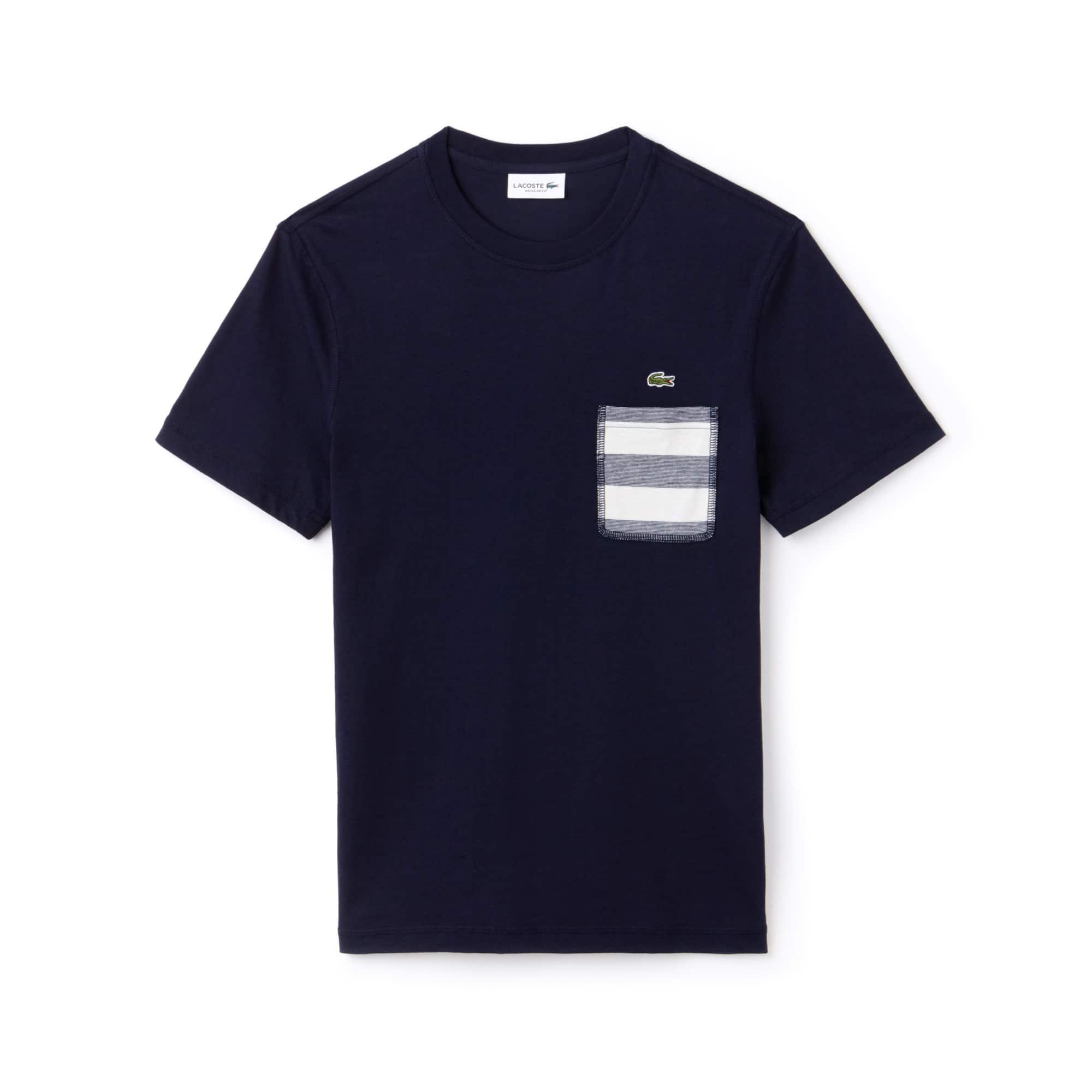9ee5d0e3da253 Camiseta Masculina em Jérsei de Algodão com Gola Redonda e Bolso Listrado