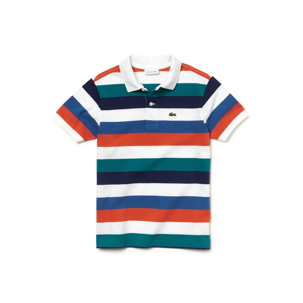 Camisa Polo Lacoste Masculina Infantil em Piqué com Listras Coloridas cc053f8436