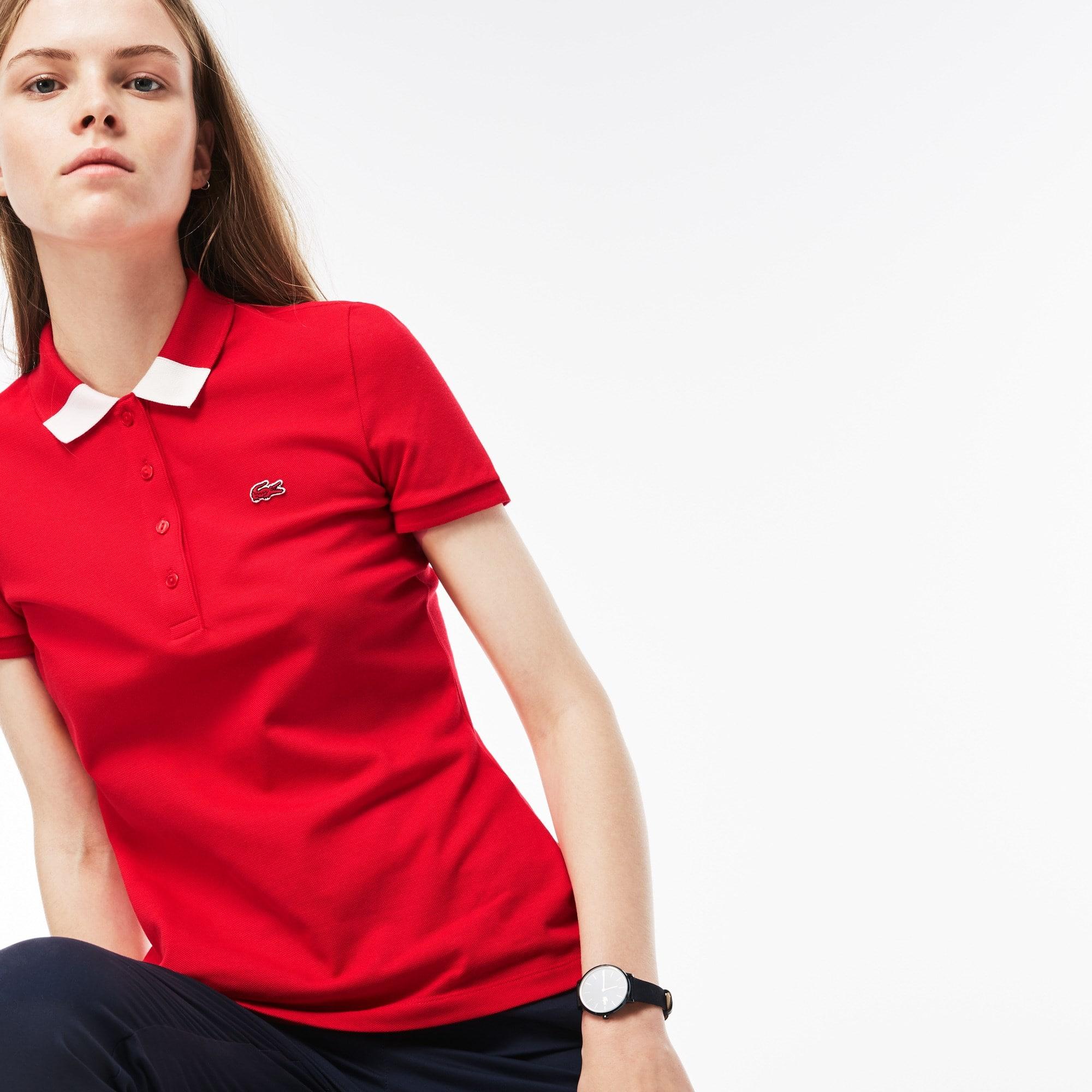 25% de desconto. Camisa Polo Slim Fit Feminina em Minipiqué Stretch com  Gola Bicolor b45c0300a2