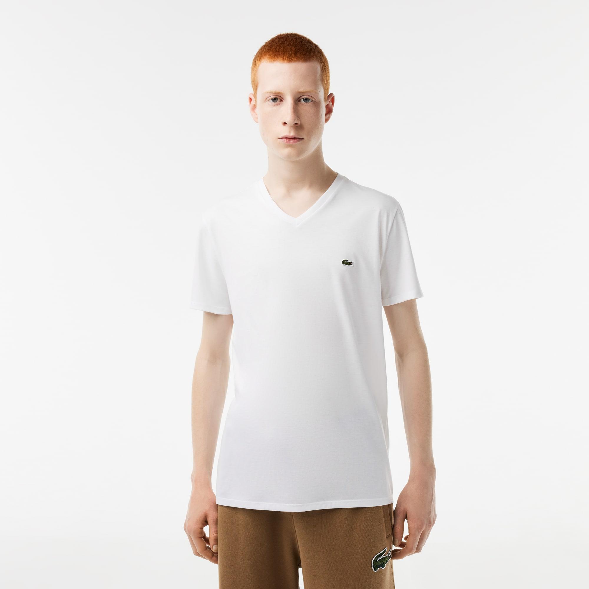 Camiseta Masculina em Jérsei de Algodão Pima com Gola V cd85a87063