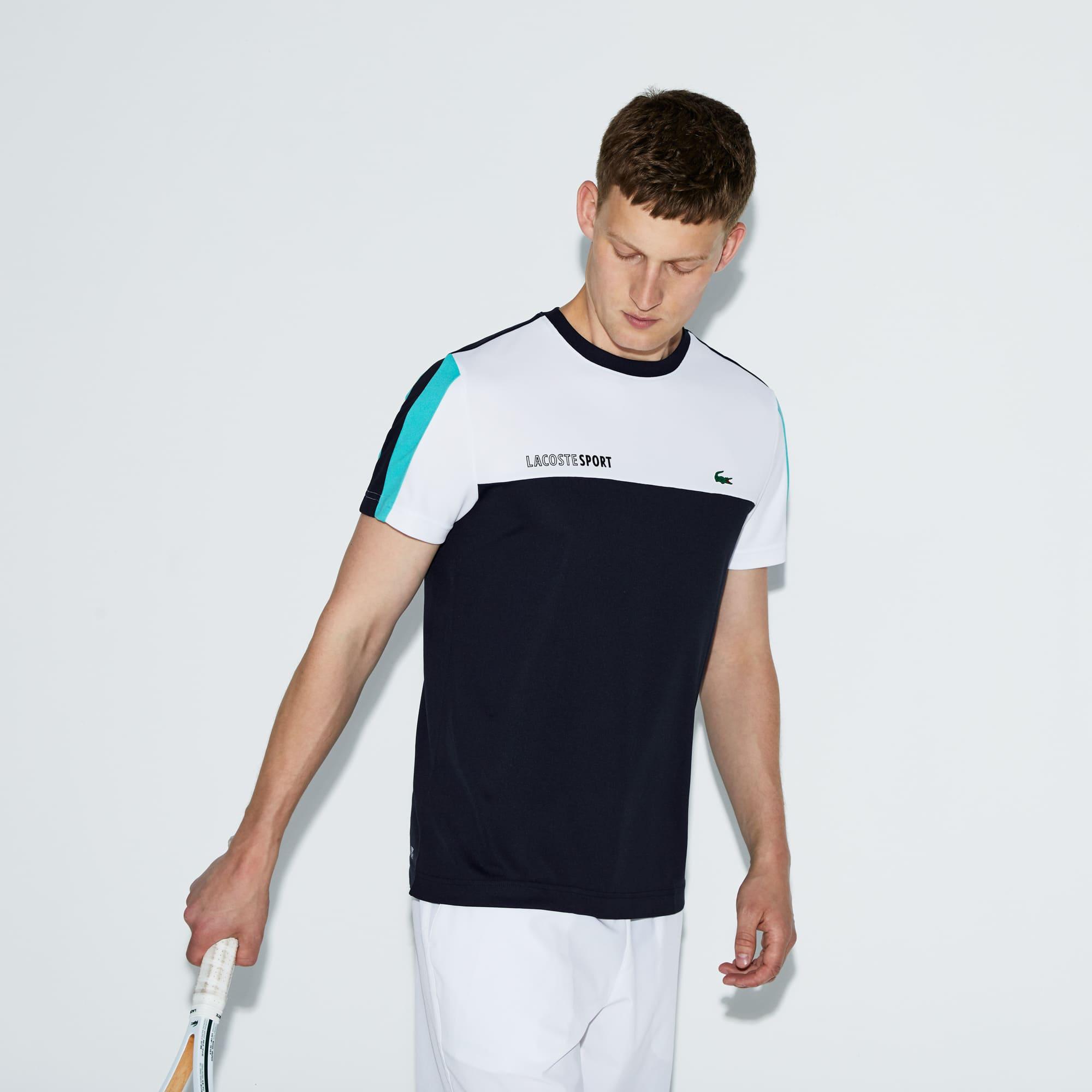 a294846708355 Camiseta masculina Lacoste SPORT tennis decote careca Colorblock em piquet