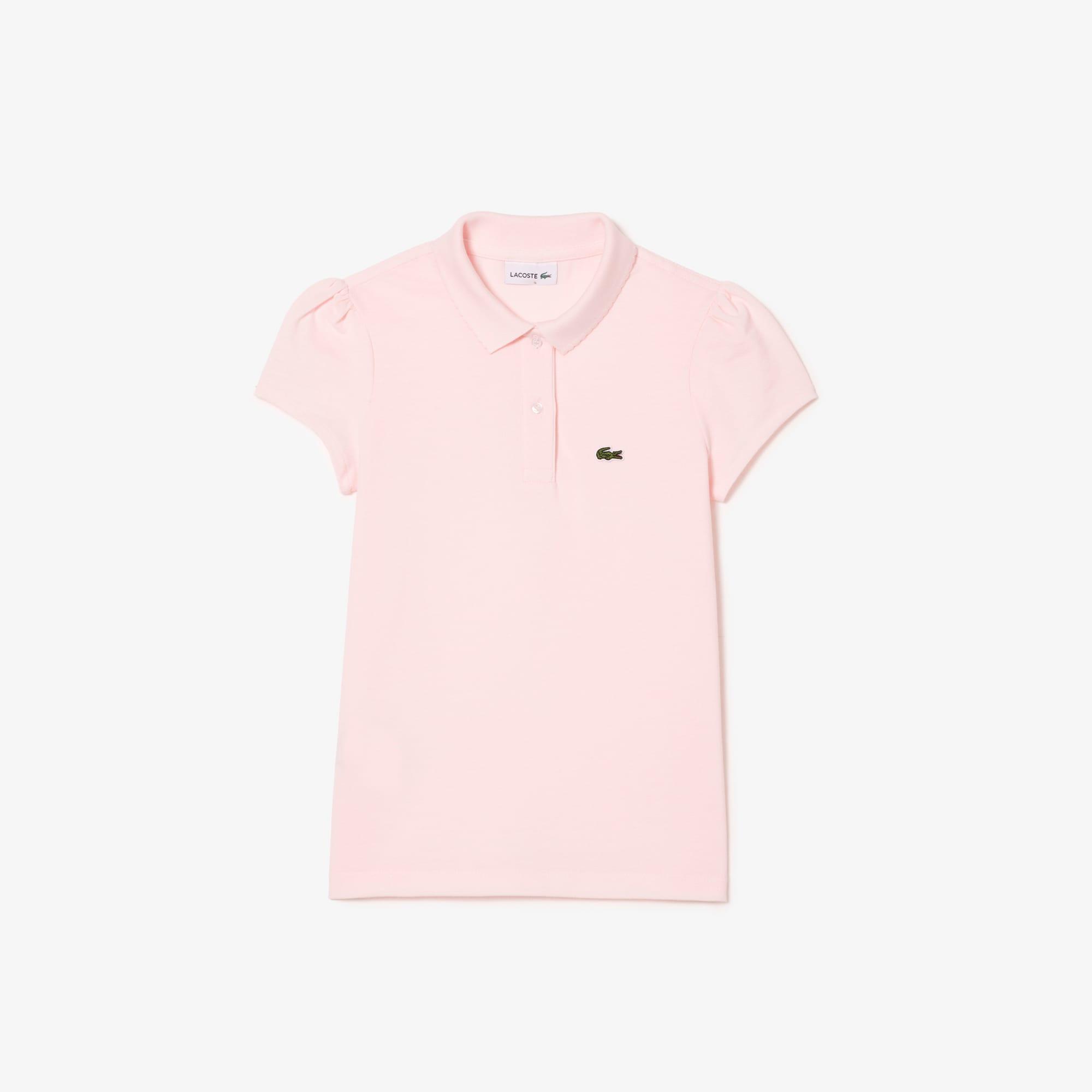 27d03aa7541 Camisa Polo Lacoste Feminina Infantil em Minipiquet com Gola Recortada