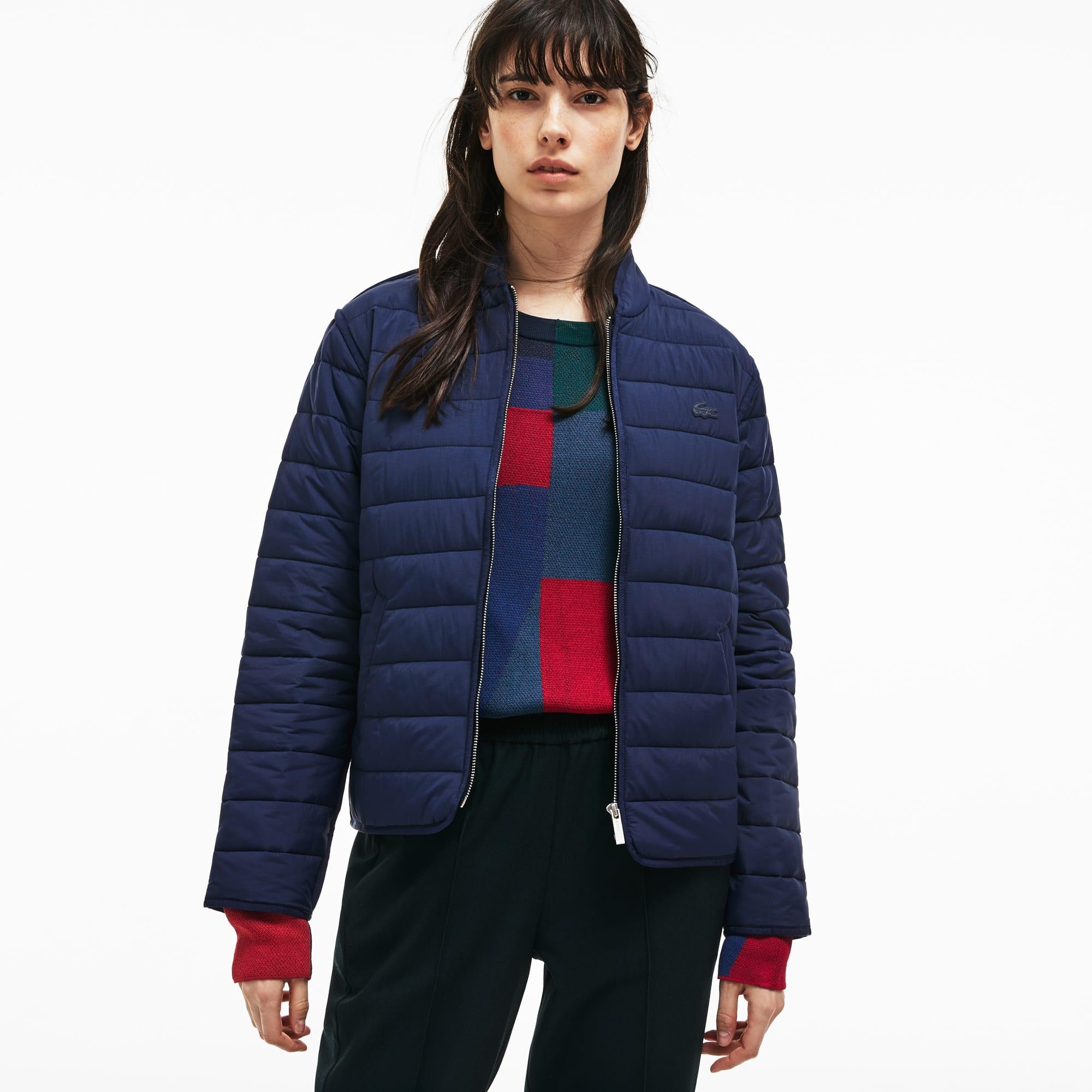 dc3893dbd24 Down jacket feminina com zíper em tafetá