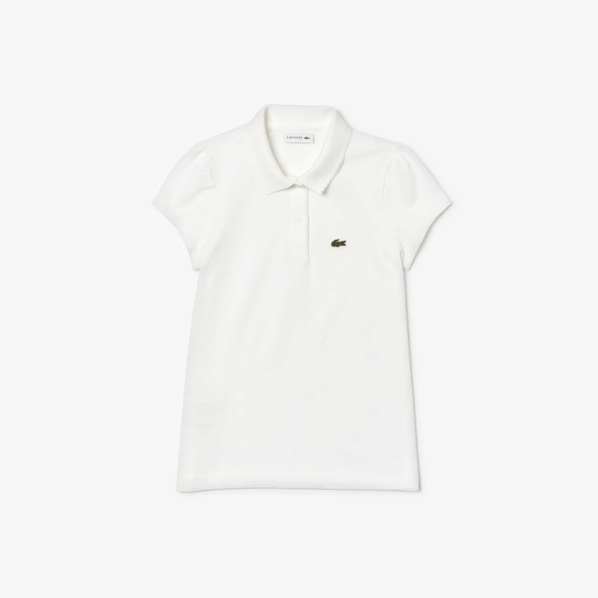 3582547f65 Camisa Polo Lacoste Feminina Infantil em Minipiquet com Gola Recortada