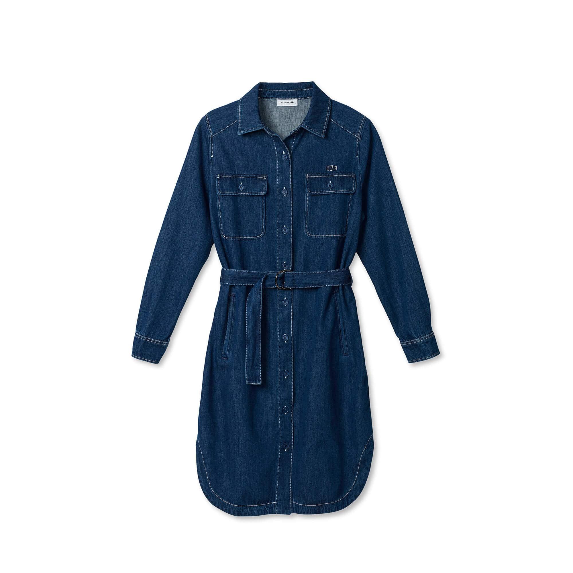 63b605e48c4af Vestido feminino jeans com cinto