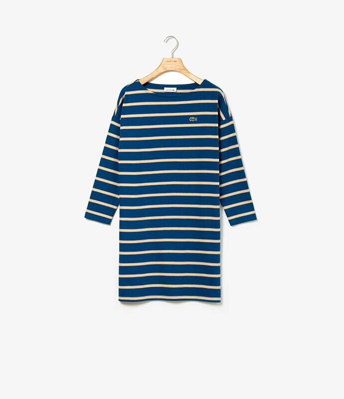 Gestreiftes Kleid in breitem Rippmuster mit langen Armen und U-Boot-Ausschnitt