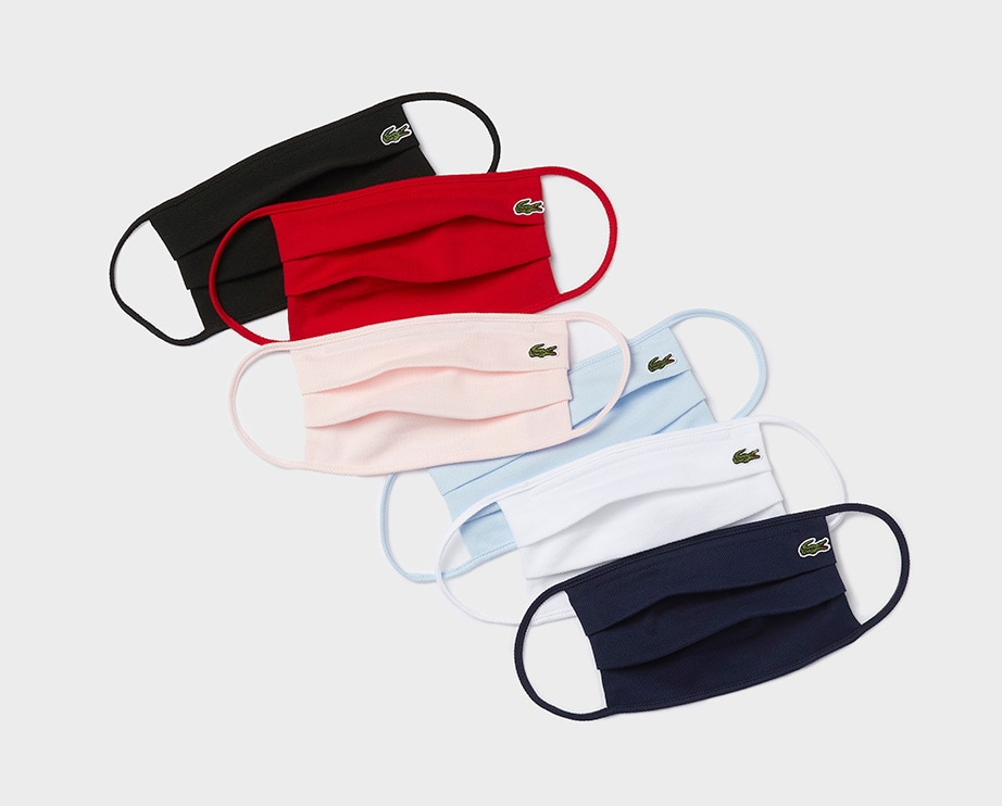 Reusable Lacoste masks with a stitched crocodile