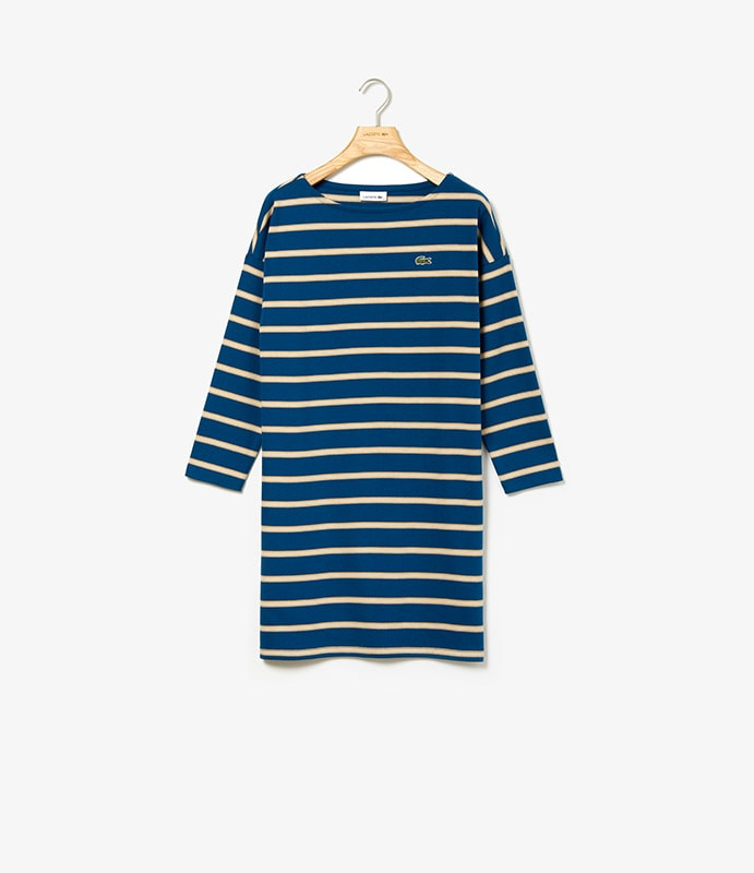 Striped dress in thick-ribbed cotton with long sleeves and a boat neck