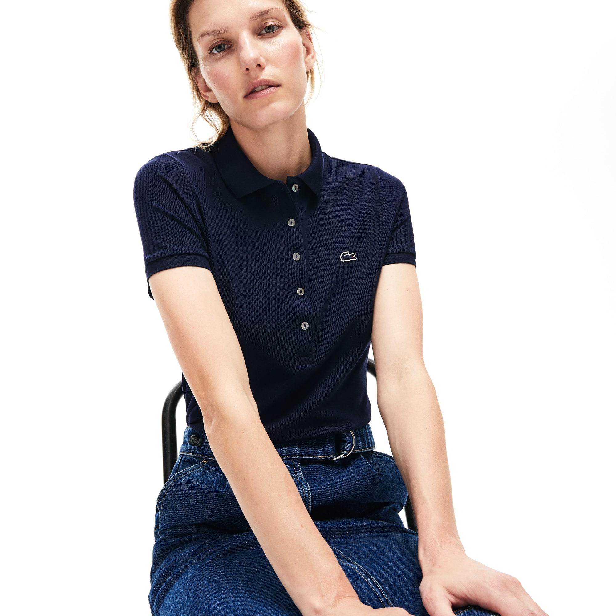 size 40 56518 3337b LACOSTE Slim Fit Damen-Poloshirt aus Mini-Piqué mit Stretch