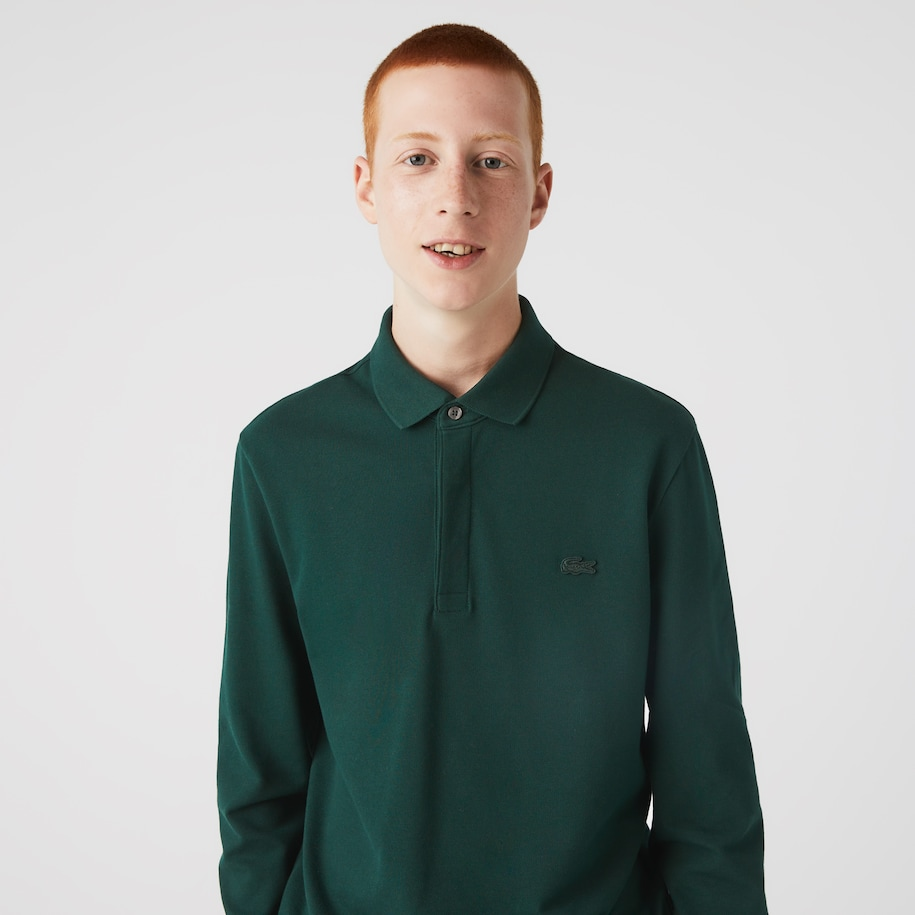 Regular Fit Langärmeliges Herren LACOSTE Paris Polo aus Stretch-Baumwollpiqué