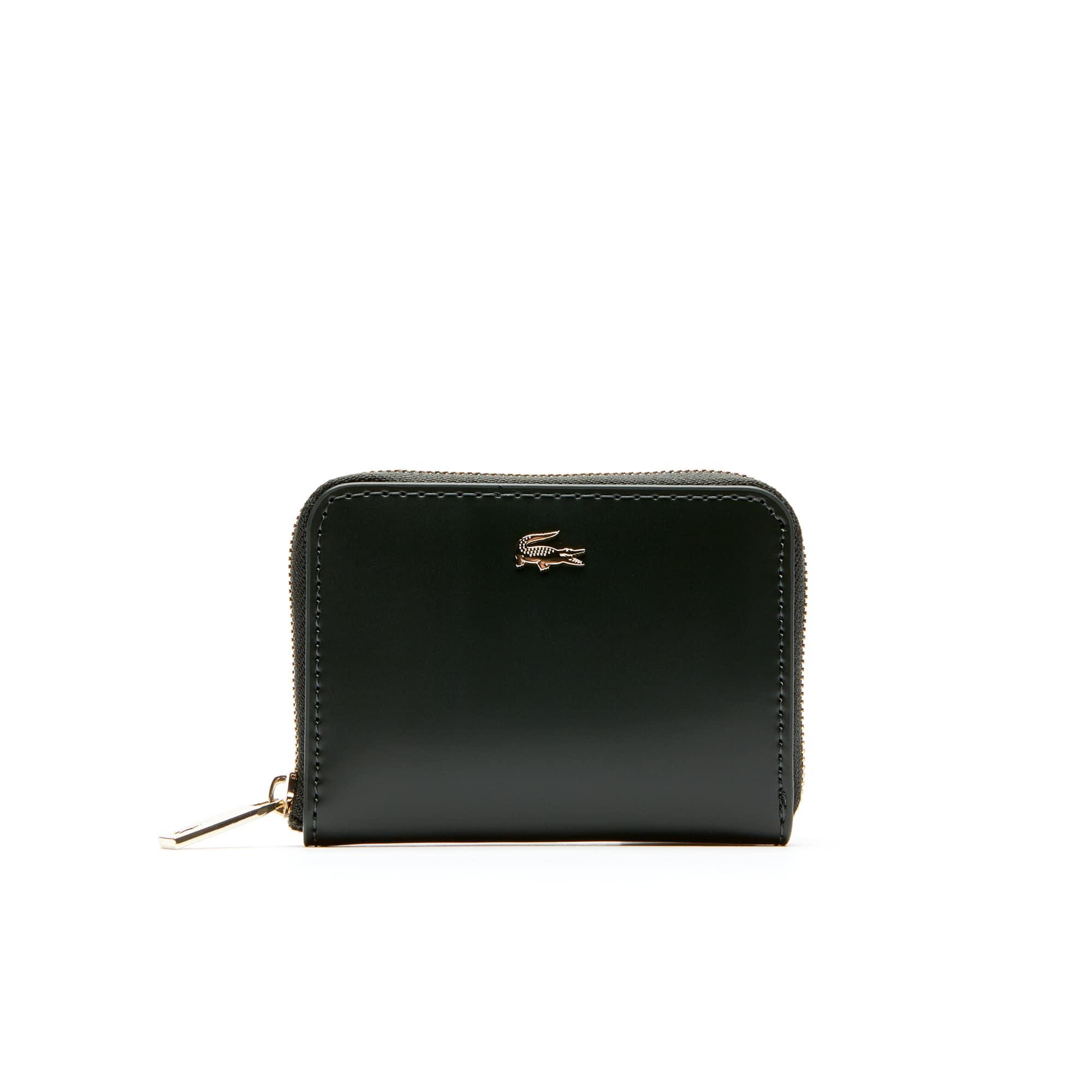Damen-Geldbörse MINI GOLF aus glänzendem Leder mit Reißverschluss