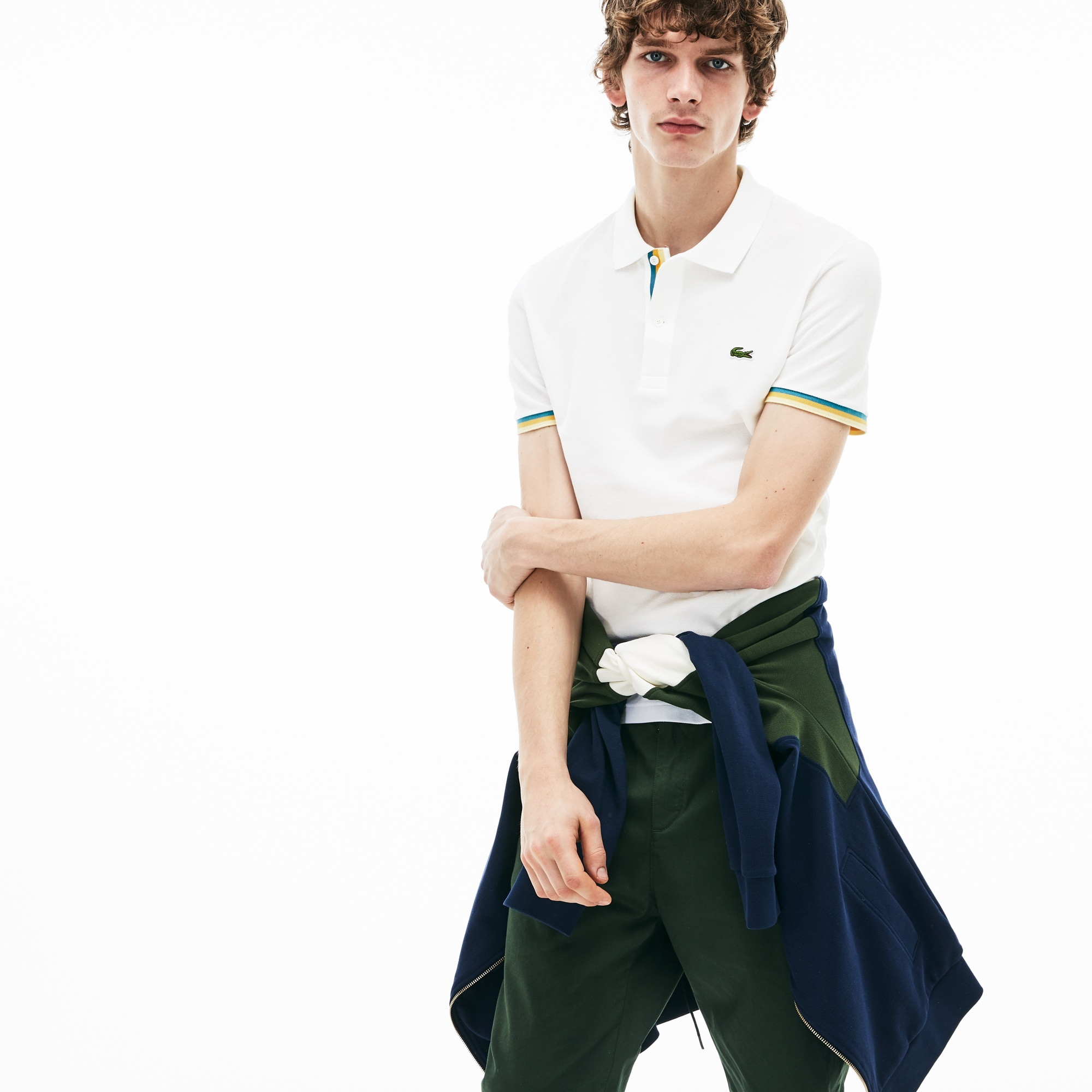 Men's Lacoste Slim Fit Piped Sleeves Petit Piqué Polo Shirt