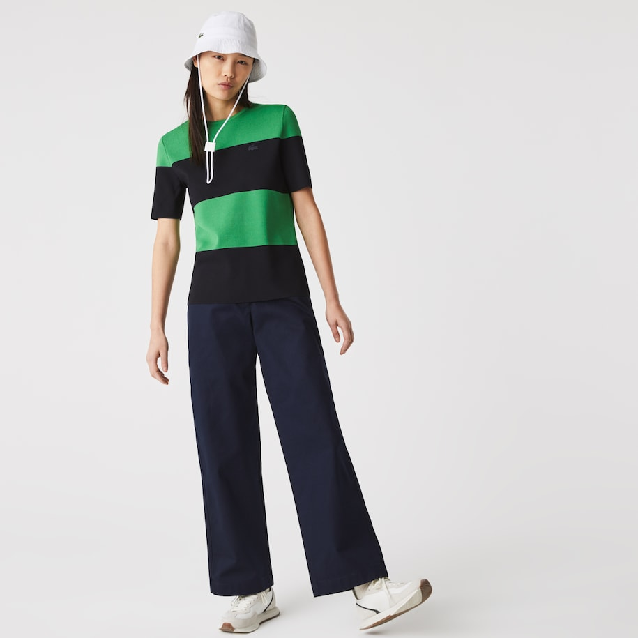 Women's Solid High-Waisted Flared Cotton Pants