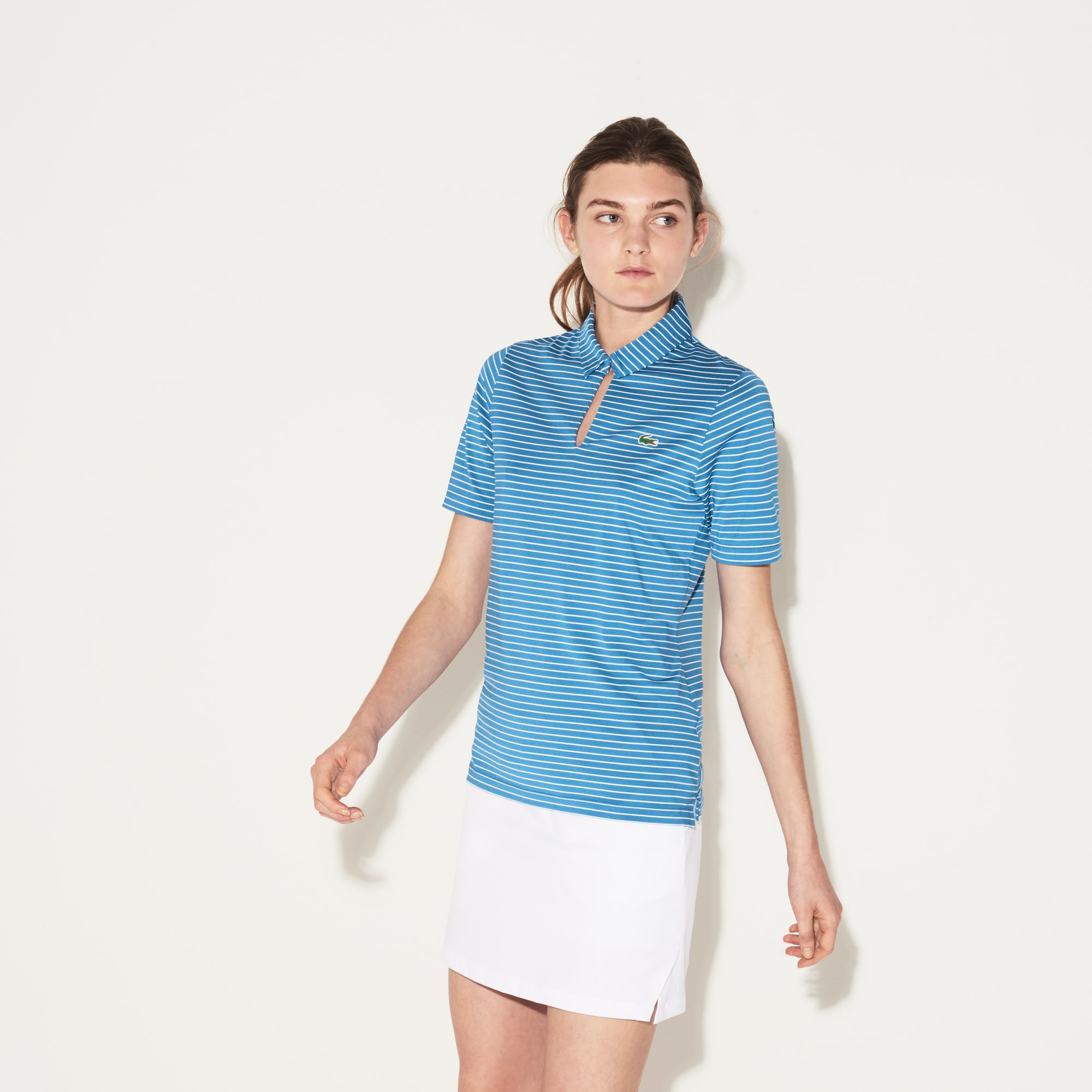 Women's Lacoste SPORT Teardrop Neck Striped Jersey Golf Polo Shirt