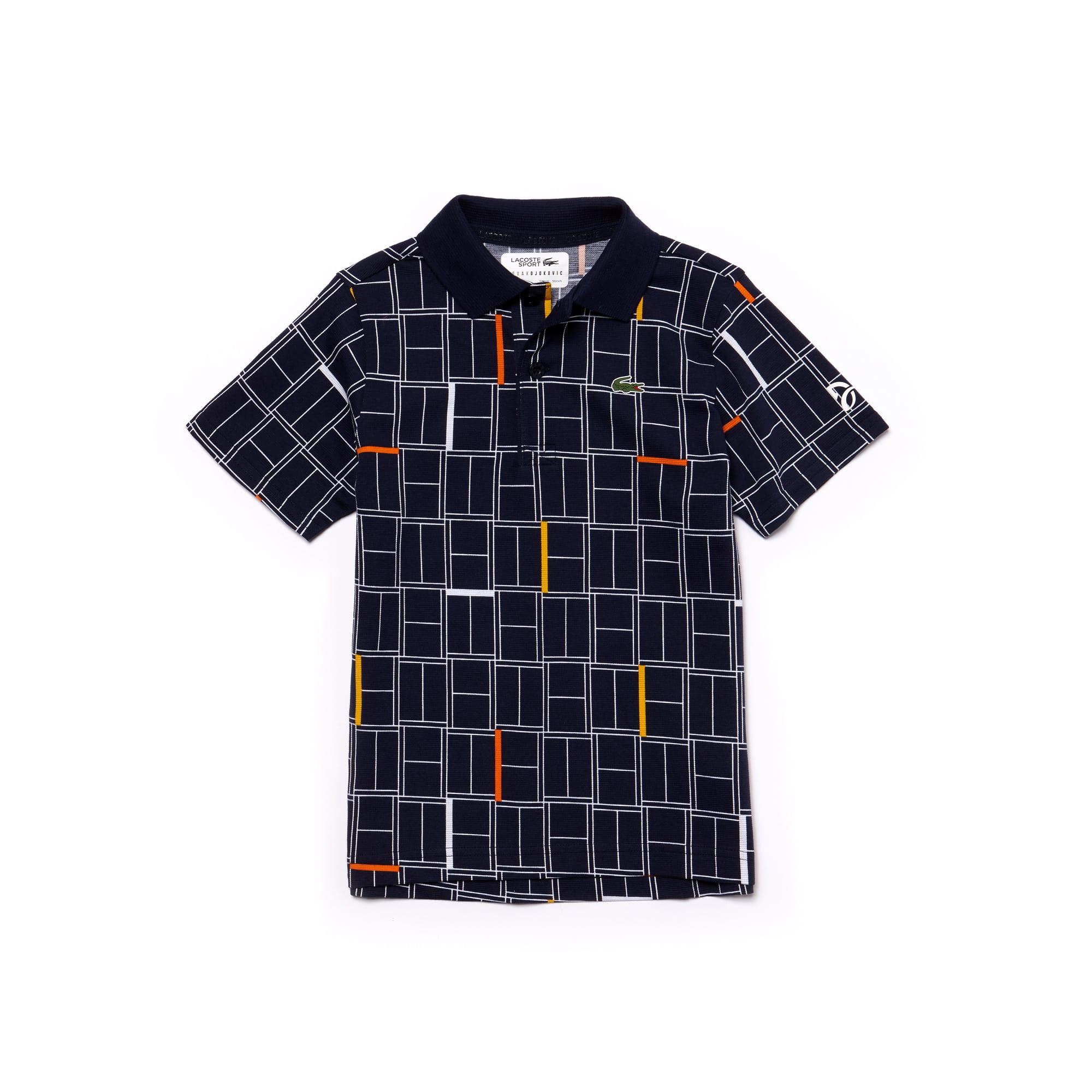 Boys' LACOSTE SPORT NOVAK DJOKOVIC COLLECTION Print Light Cotton Polo Shirt